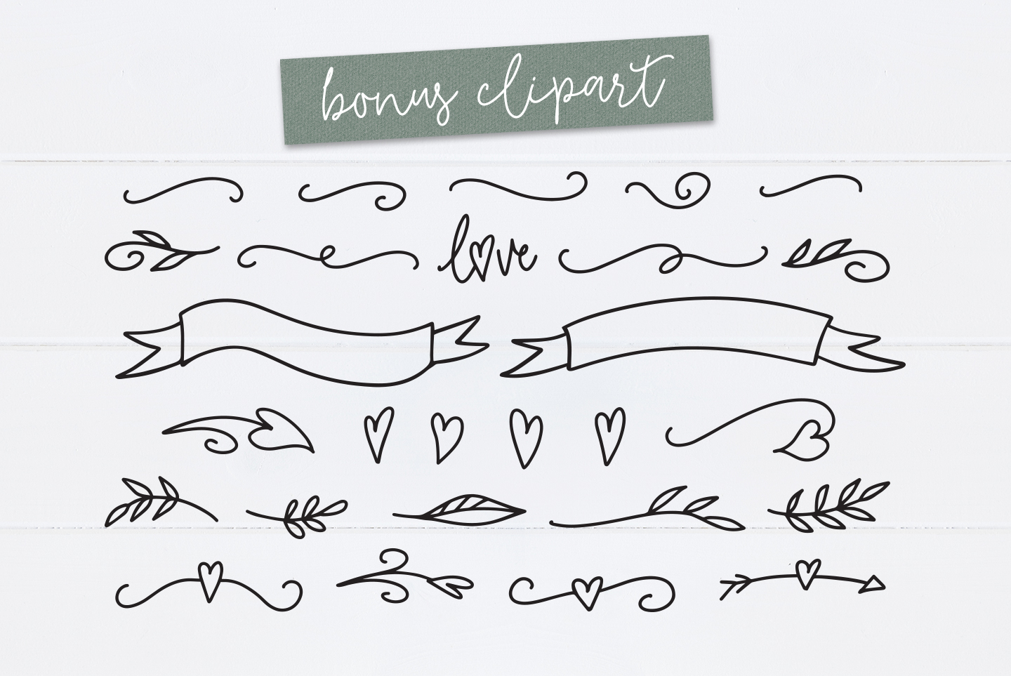 Tilly, a lovely, romantic, wedding font with bonus clipart example image 3