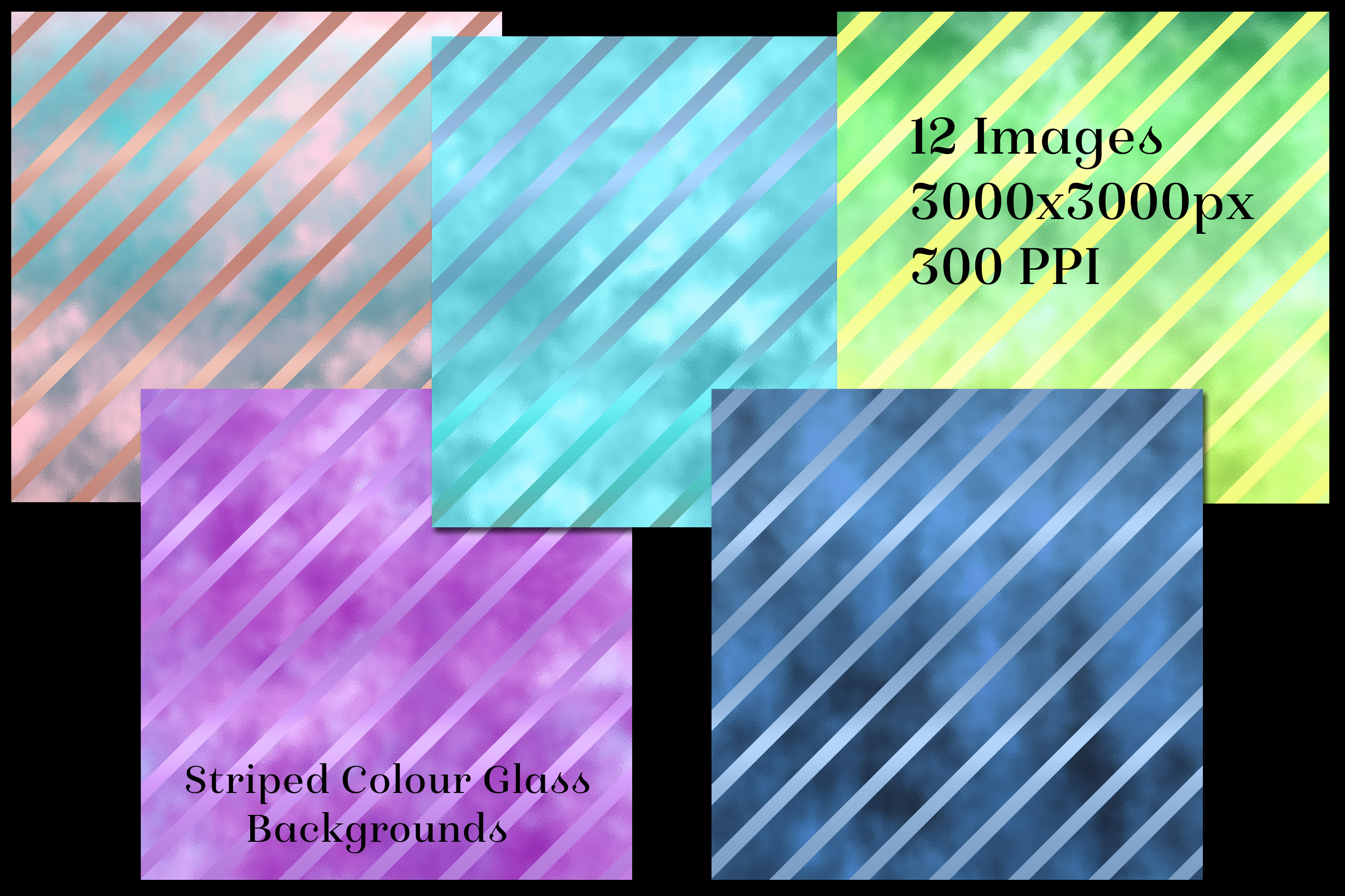 Striped Colour Glass Backgrounds - 12 Image Textures Set example image 2