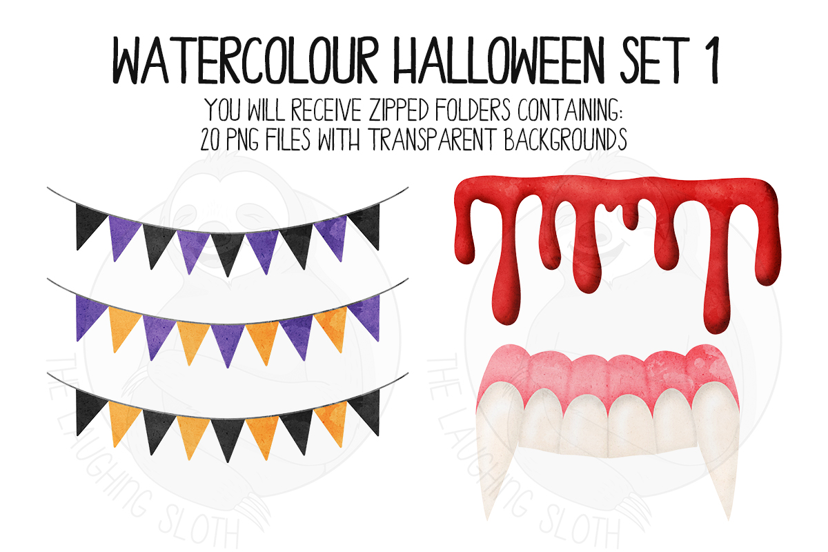 Watercolor Halloween Clip Art Set 1 example image 2