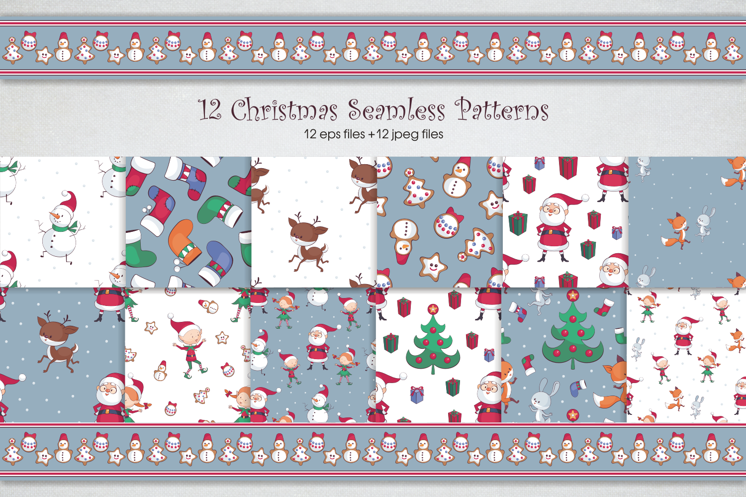 Christmas fun. Vector clip arts and seamless patterns example image 5