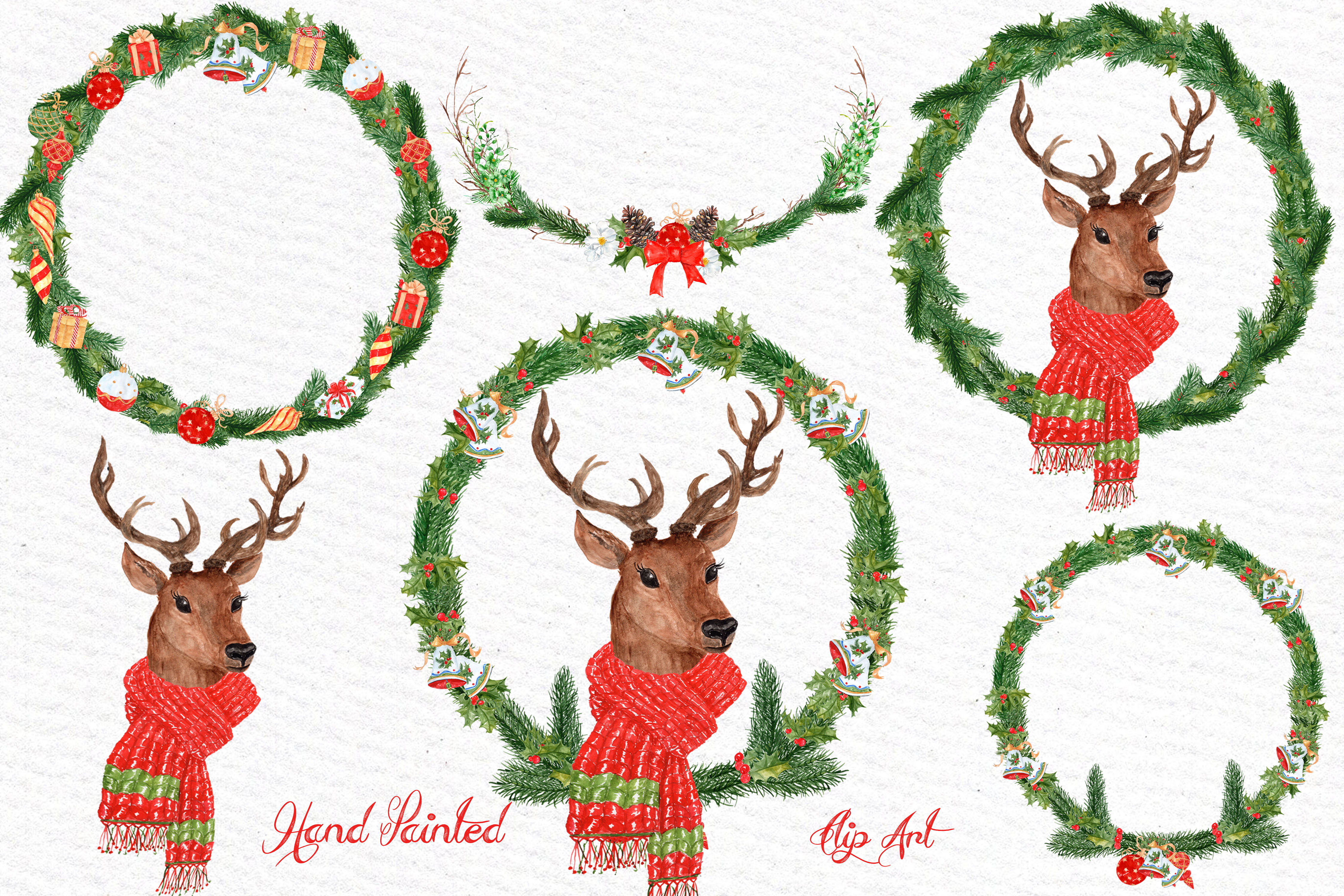 Watercolor Christmas Deer clipart example image 2