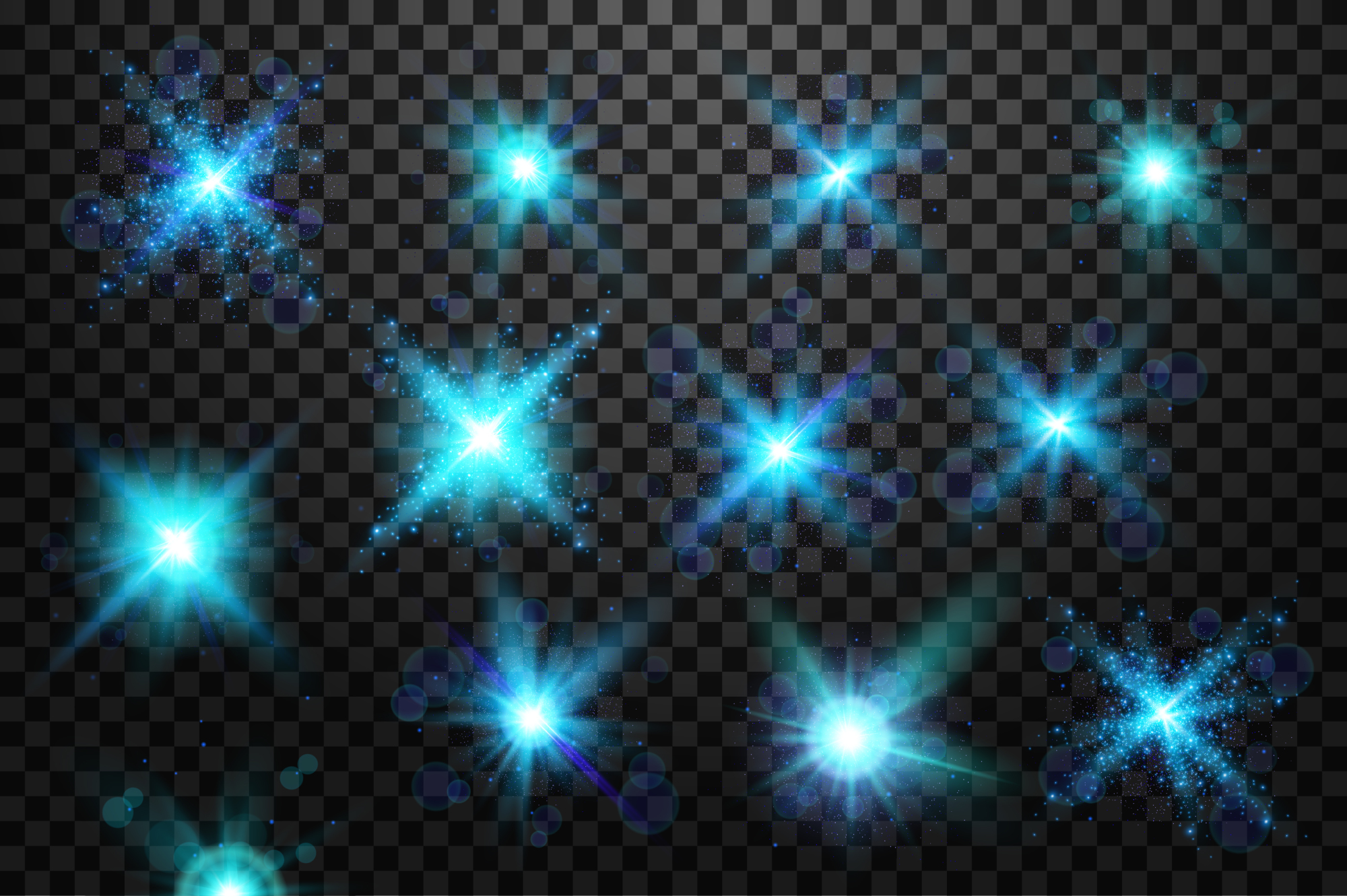 Set of light bursts in golden, blue and silver example image 1