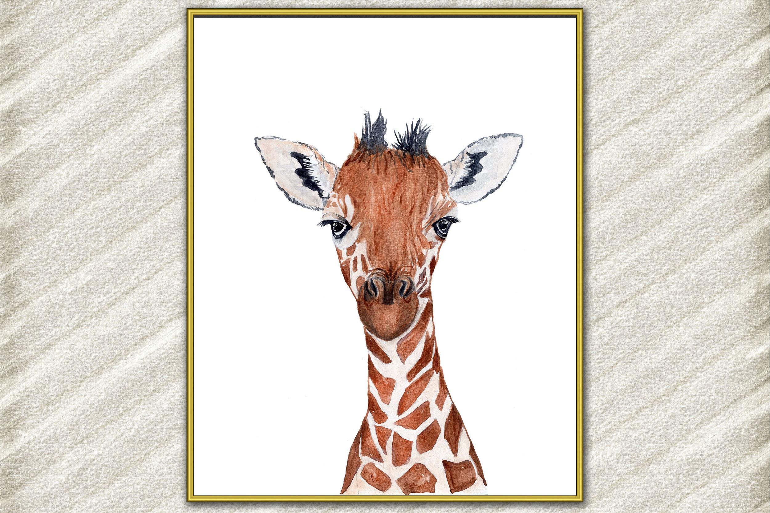 Watercolor giraffe digital print,Baby giraffe,Animal Print example image 1