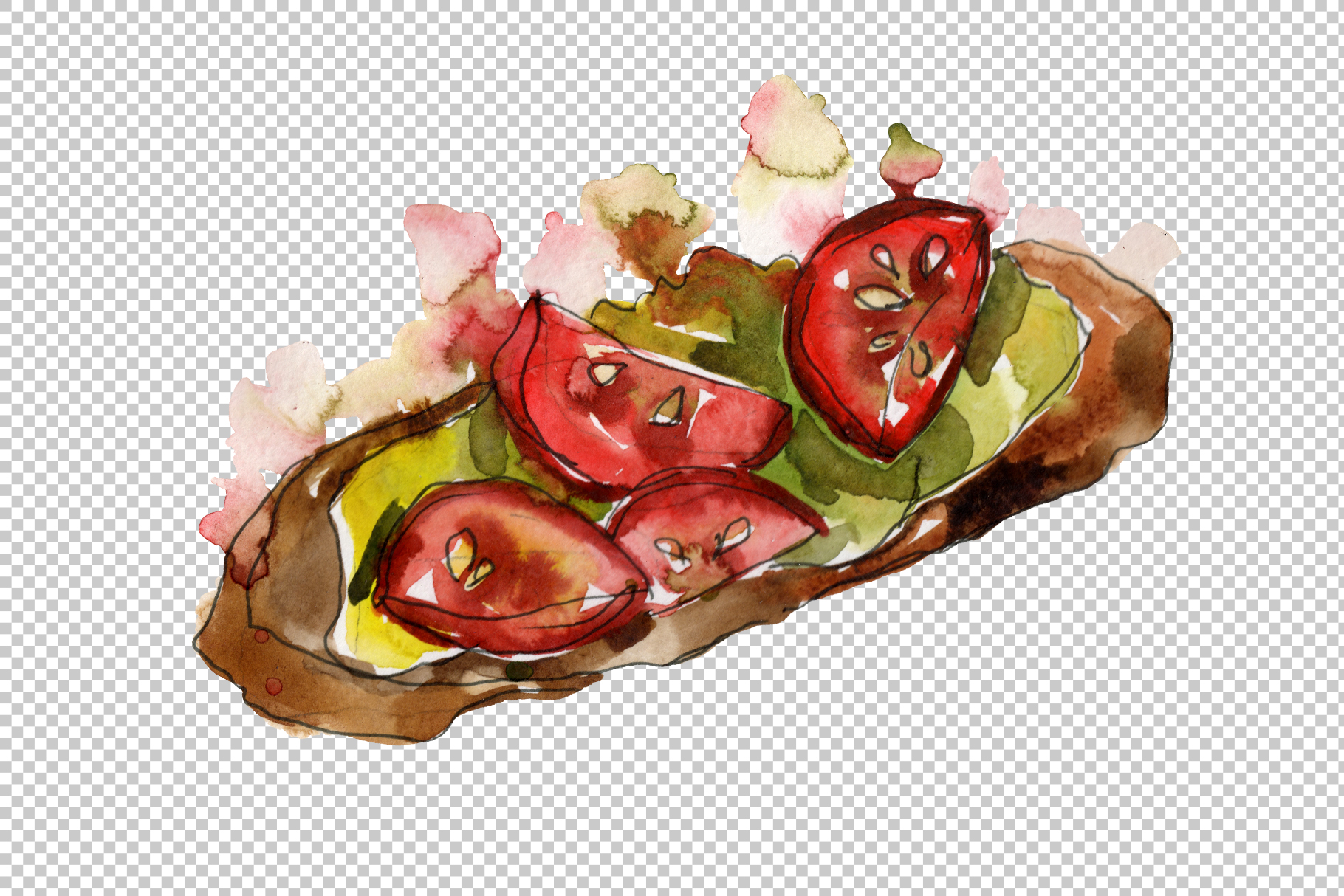 Sandwich sausage Watercolor png example image 5