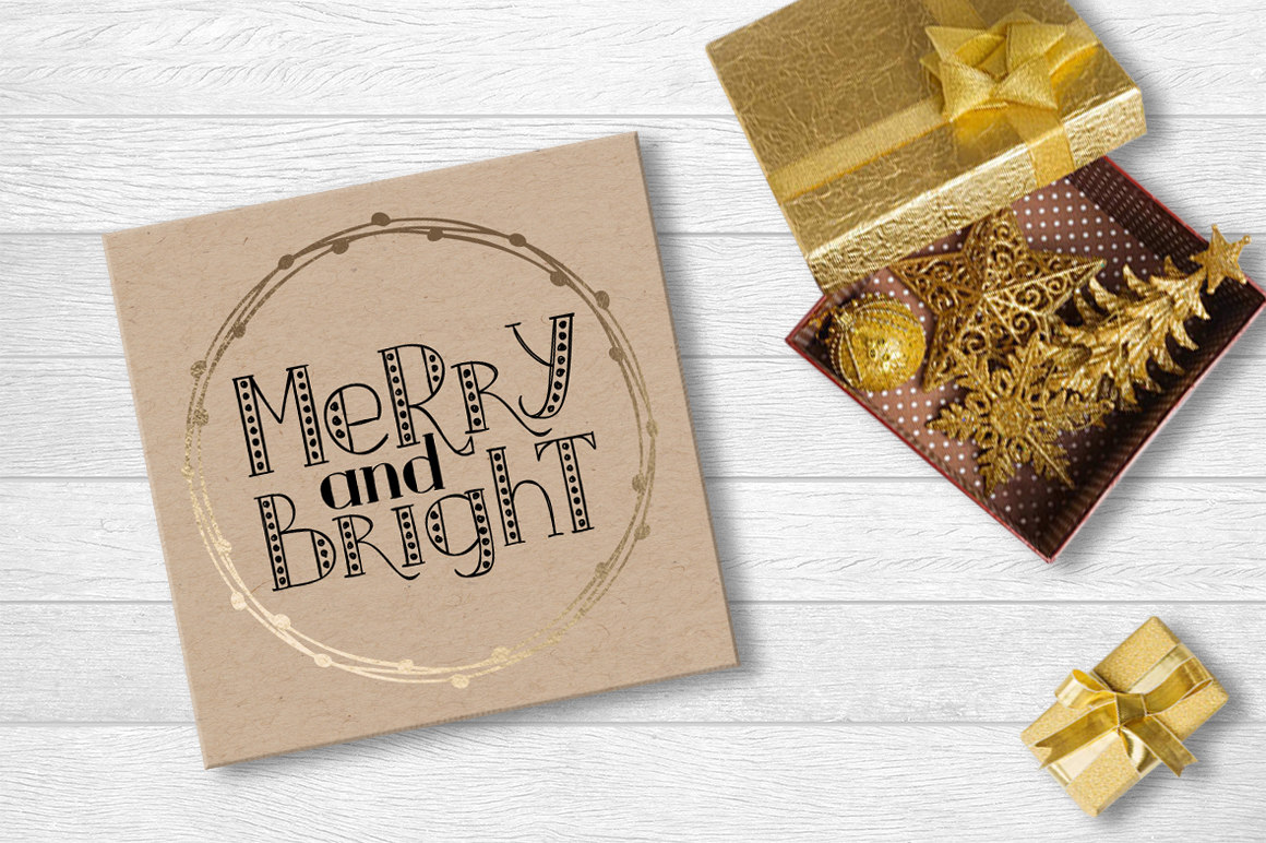 MERRY LIGHTS - hand drawn Christmas font example image 6