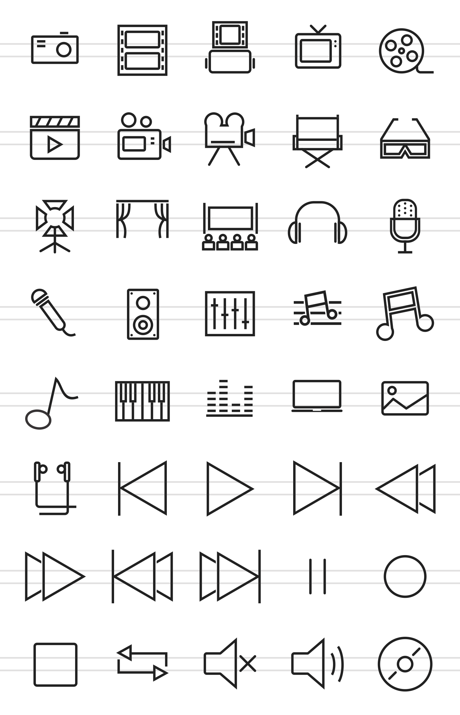 40 Multimedia Line Icons example image 2
