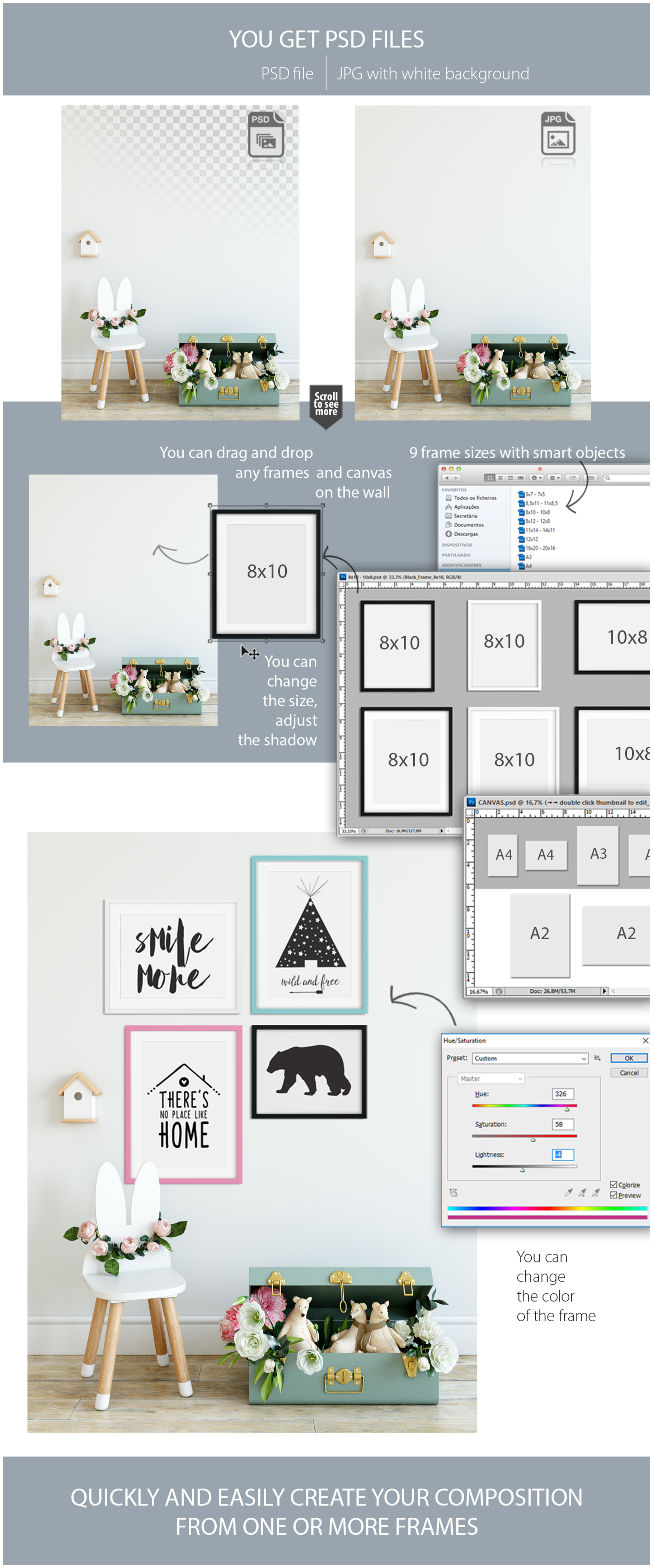 Kids Frames & Wall Mockup Bundle - 5 example image 28