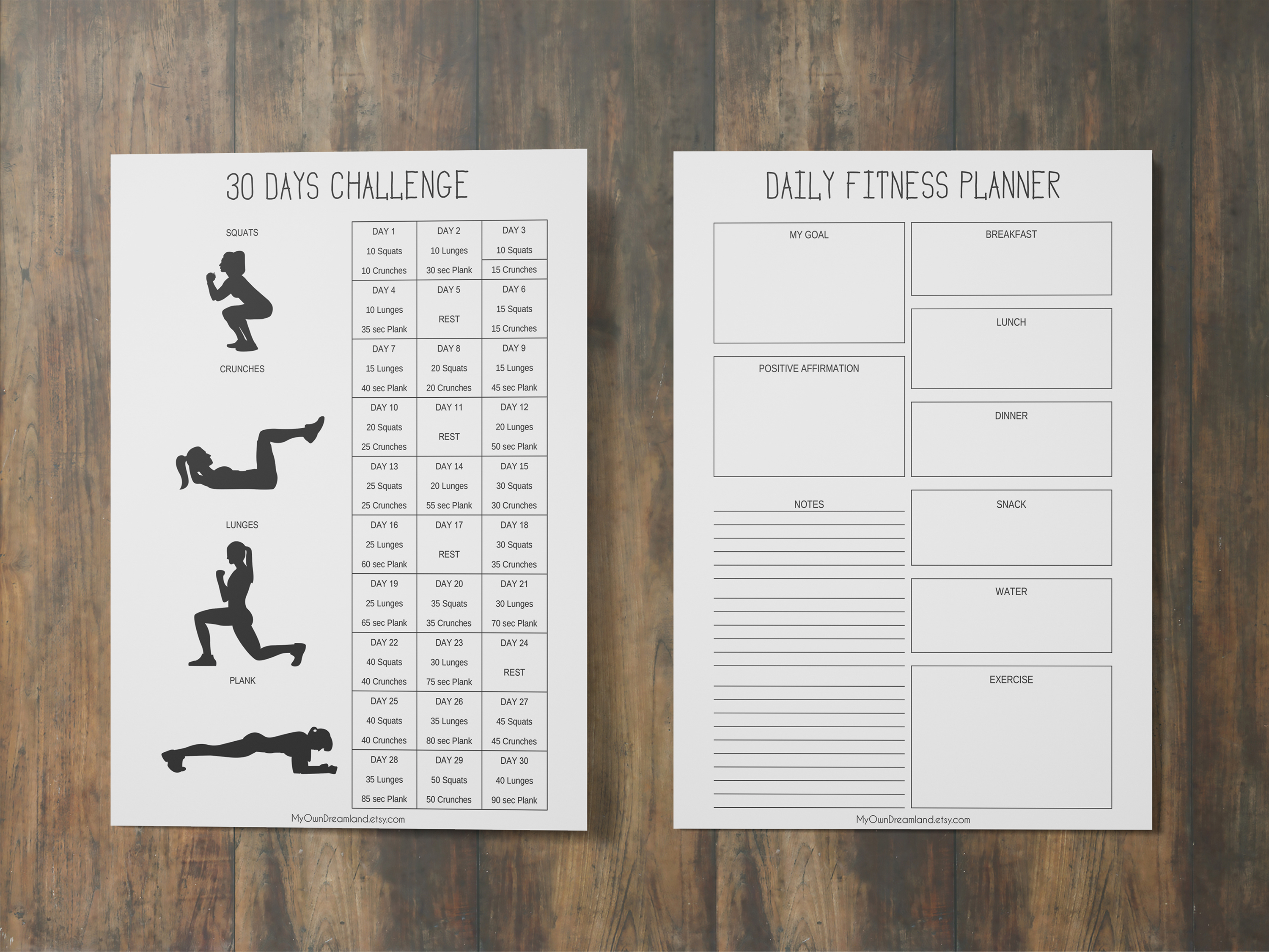 fitness planner printable  workout journal  health planner