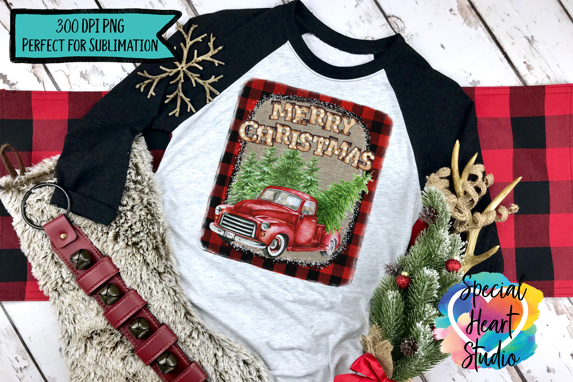 Buffalo Plaid Burlap Red Truck - Christmas Sublimation example image 1