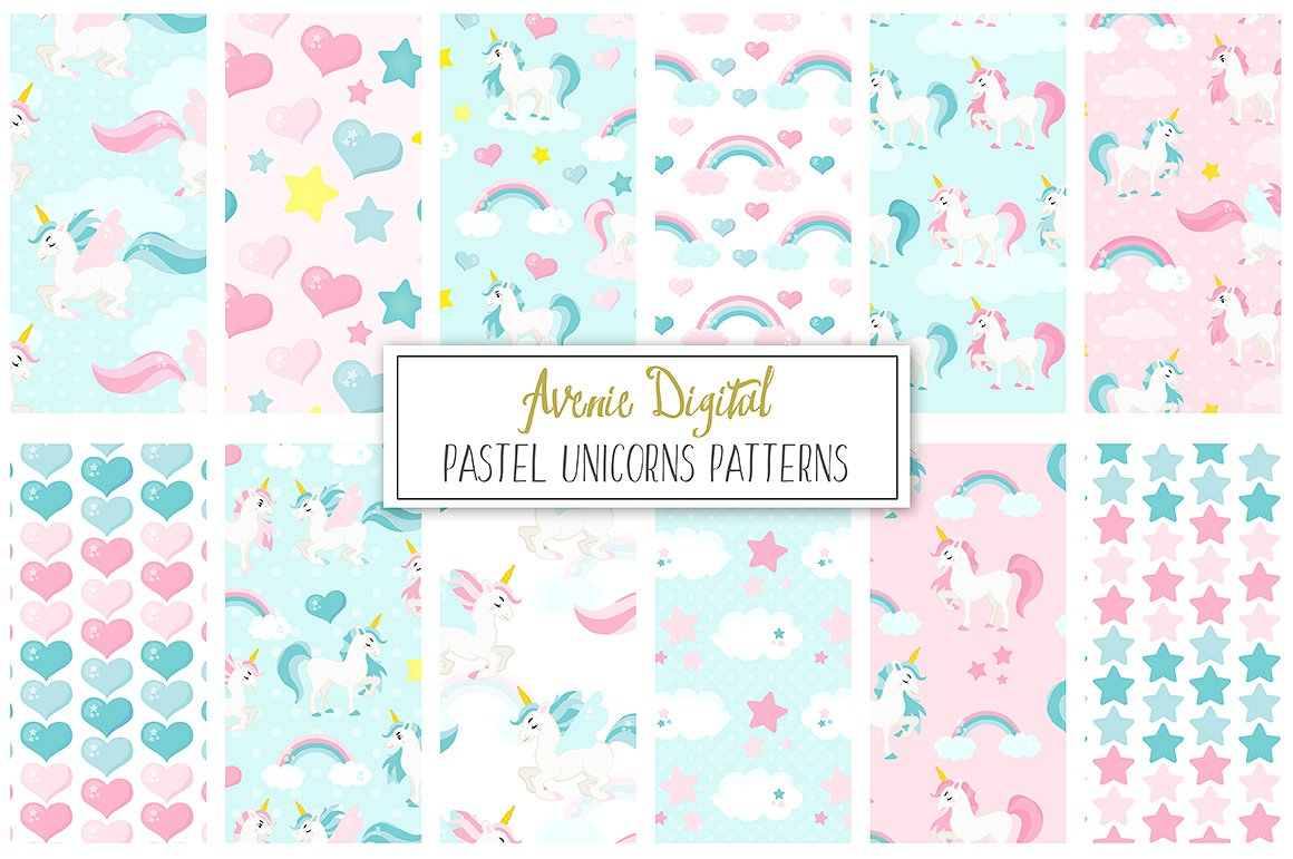 Pastel Unicorns Digital Paper and Vector Patterns example image 1