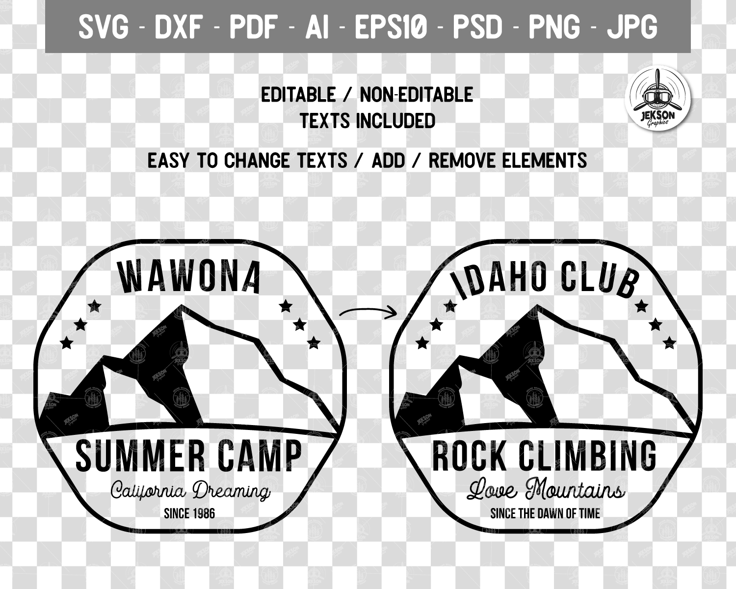 Summer Camp Logo Template, Retro California Badge SVG File example image 5