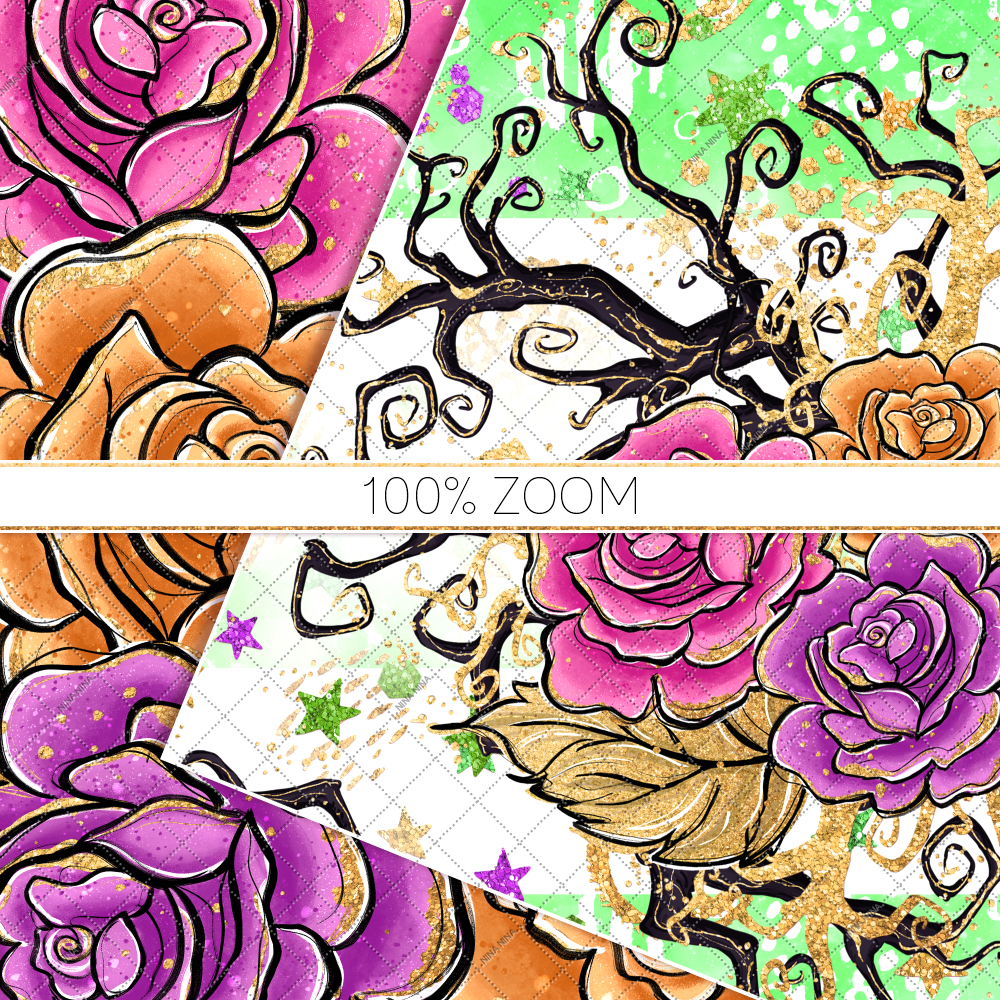Halloween Flowers Seamless Patterns, Roses Digital Papers example image 6