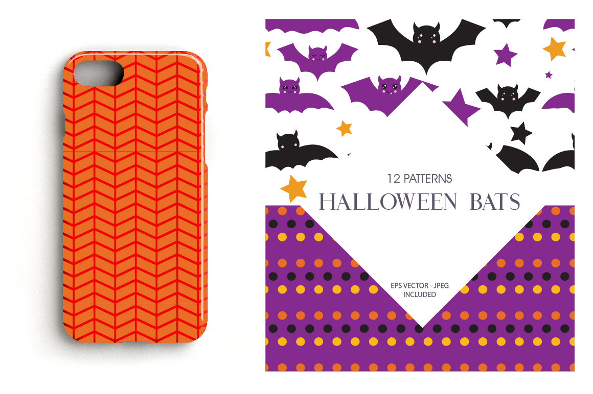 Halloween bats Pattern collection, vector ai, eps and example image 4