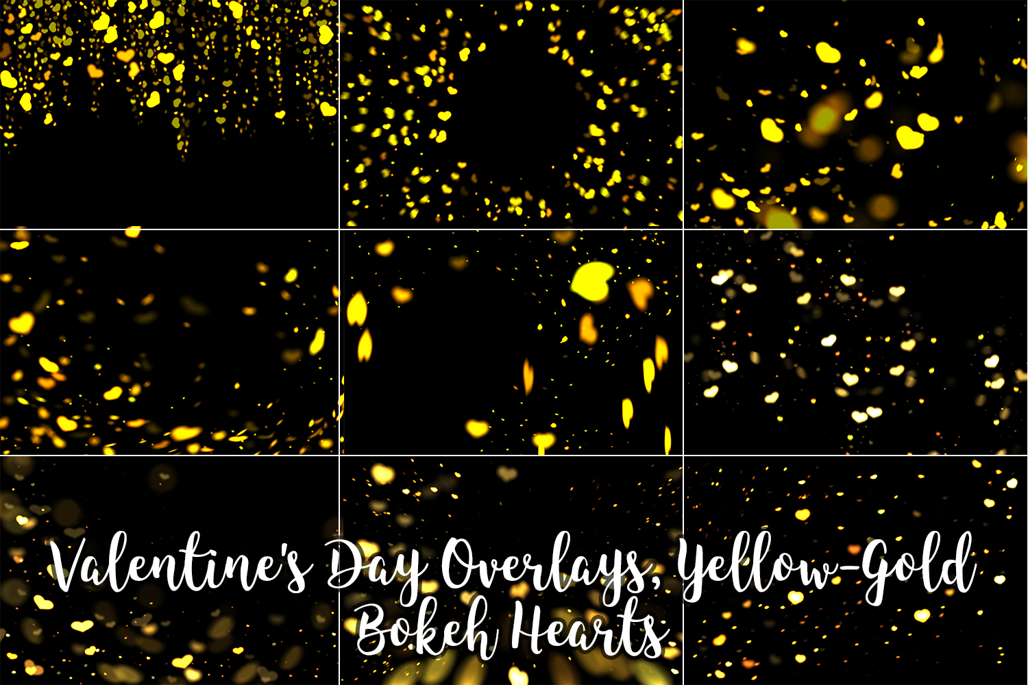 Valentine's Day Overlays, Yellow Gold Hearts Bokeh Overlays example image 11