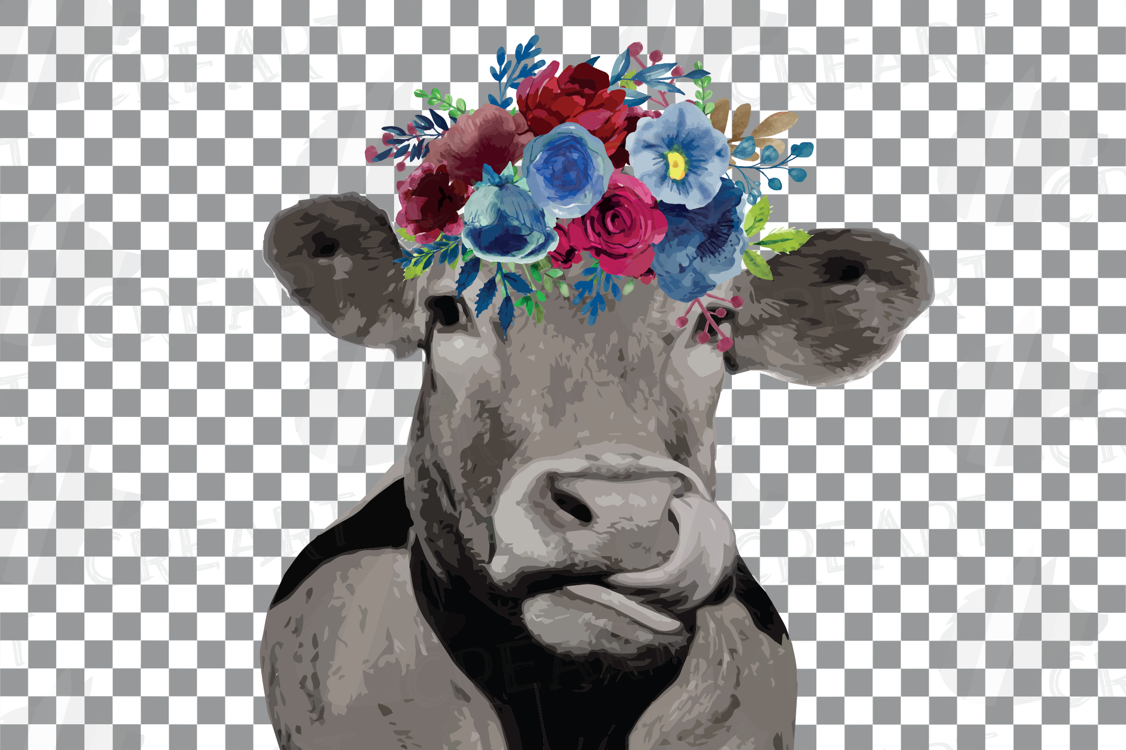 Floral cow printable gift graphic. Farmhouse wall decoration example image 4