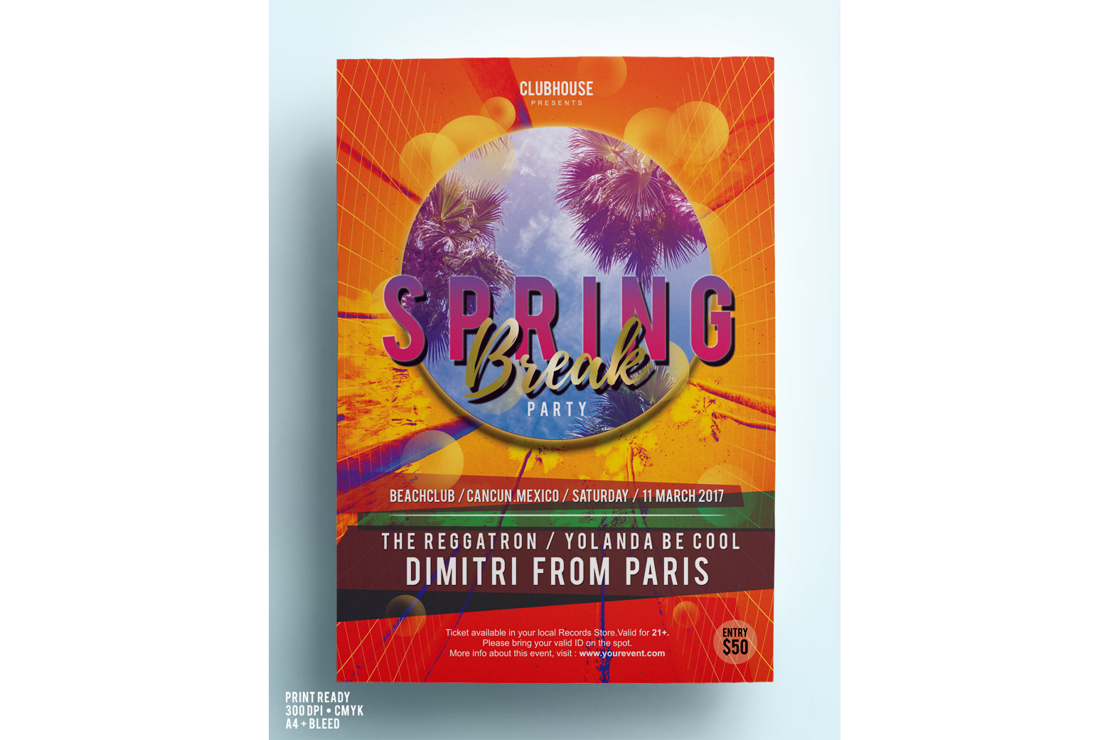 Spring Break Party Flyer example image 4