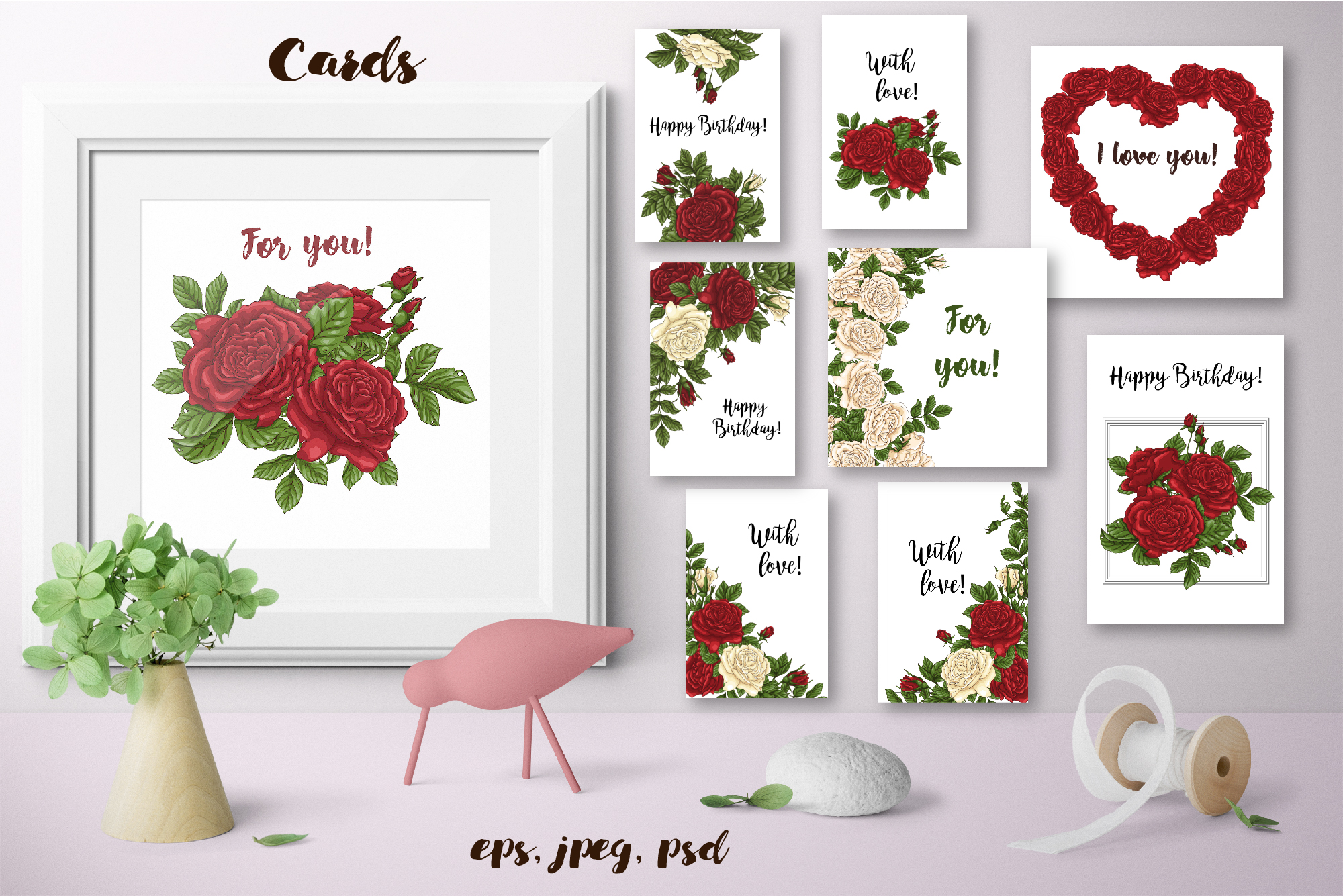 Roses – Vector Clip Art Set example image 2