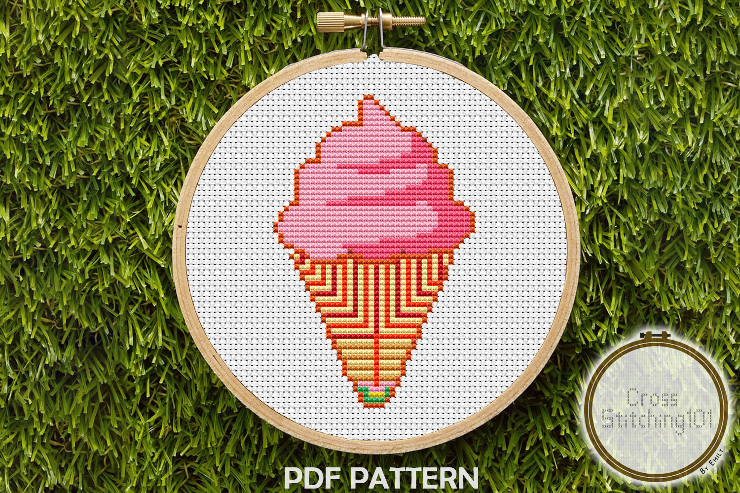 Ice Cream Cone Cross Stitch Pattern - Instant Download PDF example image 1