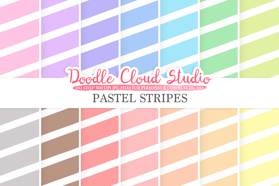 Pastel Stripes digital paper, Stripes pattern, Digital Stripes, pastel colors background, Instant Download for Personal & Commercial Use example image 1