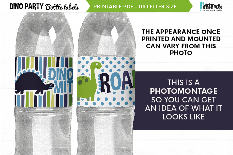 Dino party bottle labels, printable PDF, dino Birthday party example image 4