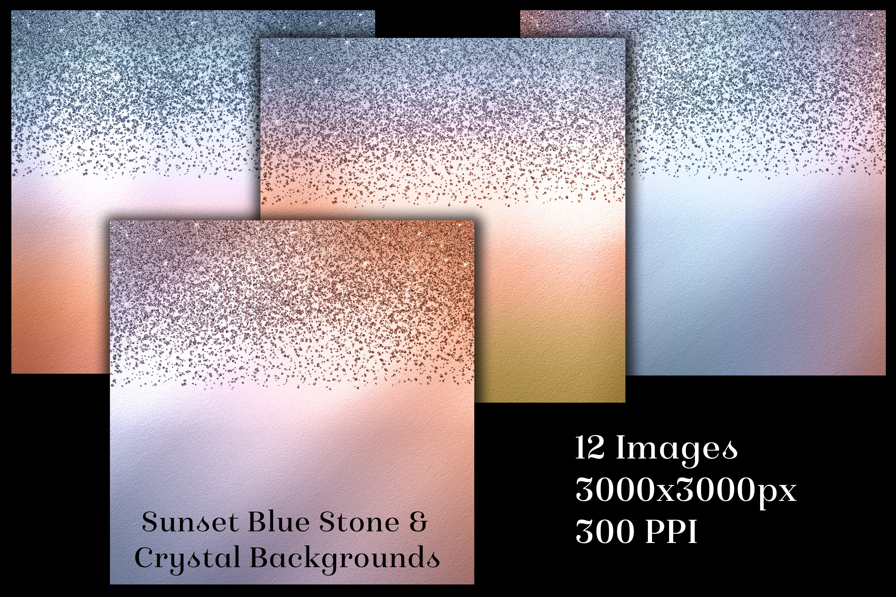 Sunset Blue Stone and Crystal Backgrounds - 12 Images example image 2