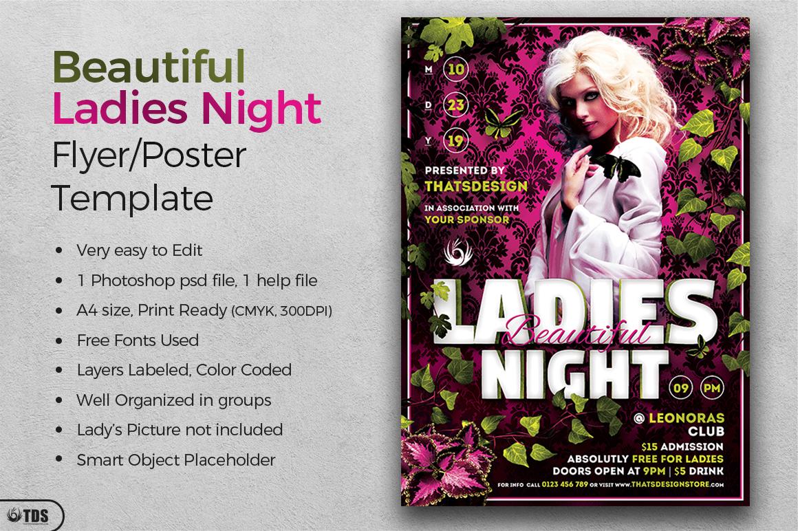 Beautiful Ladies Night Flyer Template example image 2