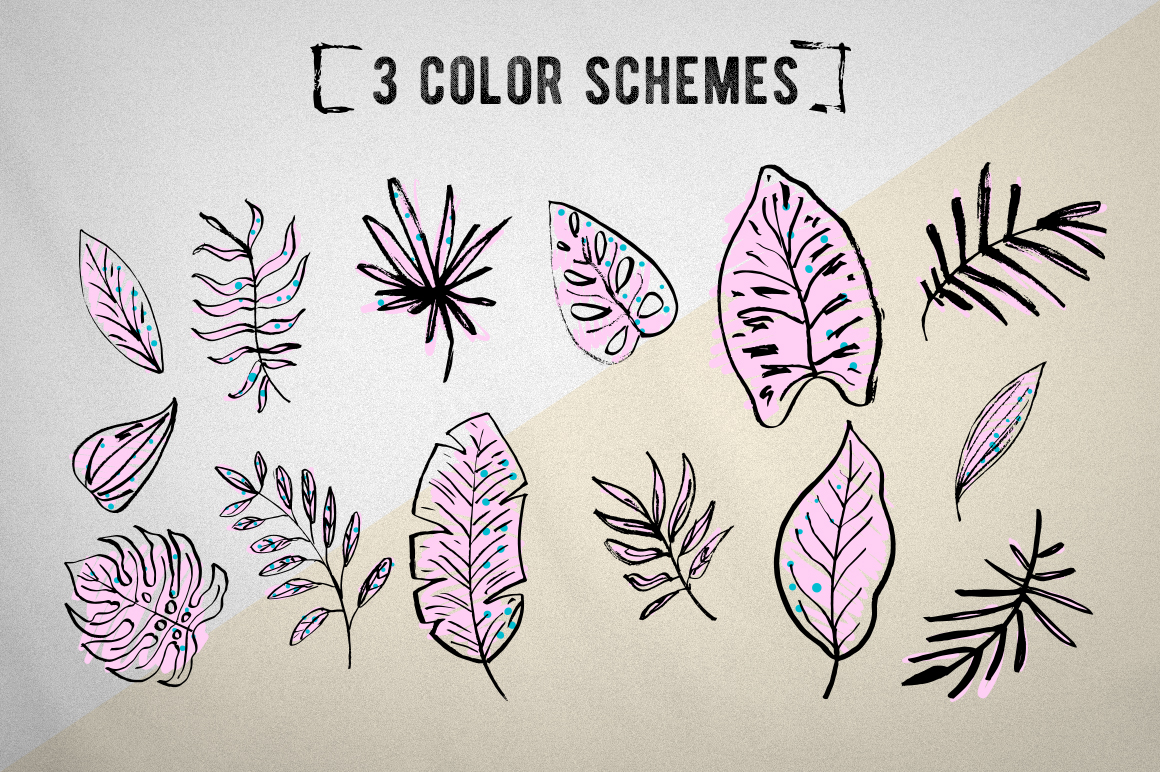 Tropical leaves set example image 4