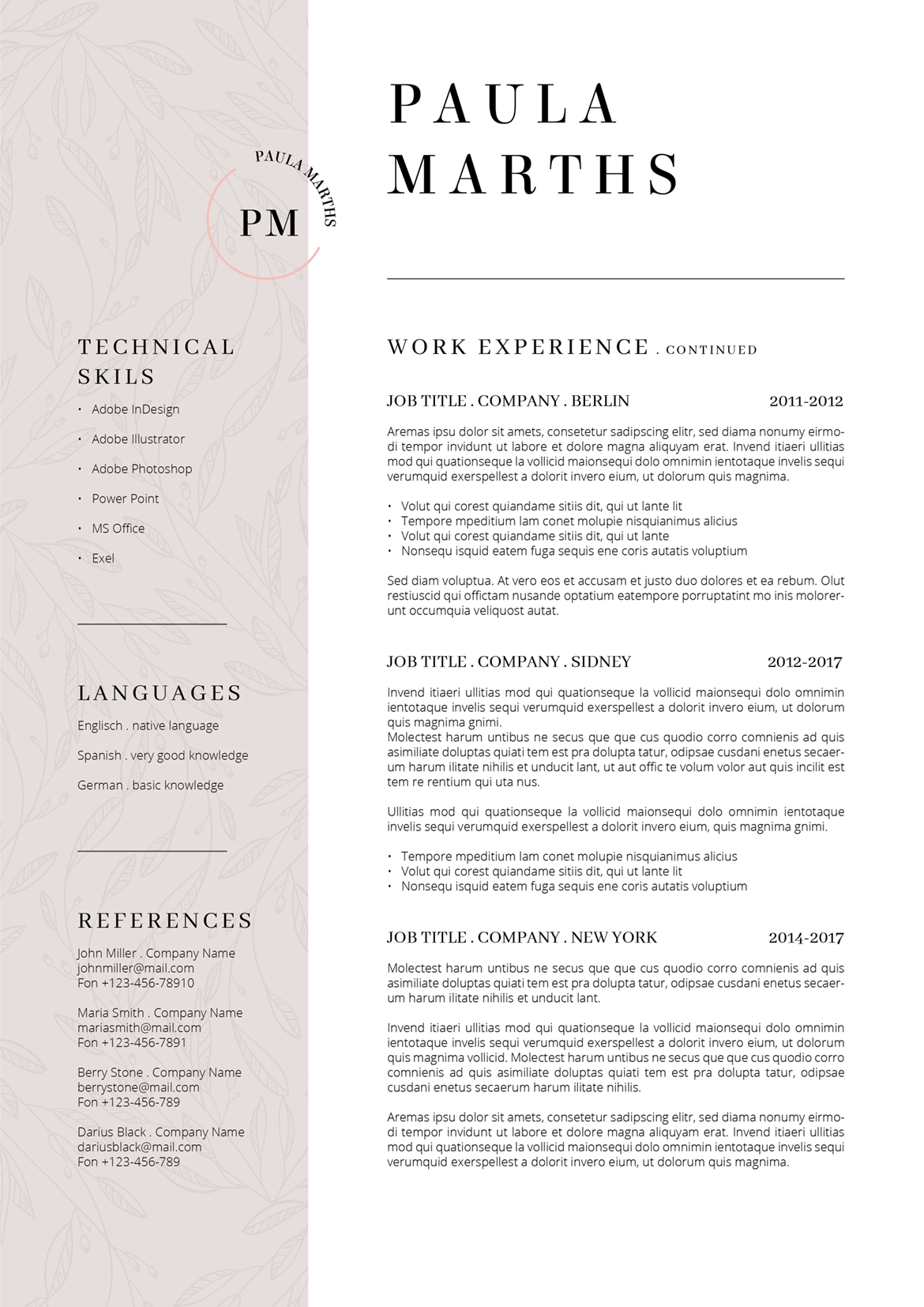 floral resume  cv   cover letter   title