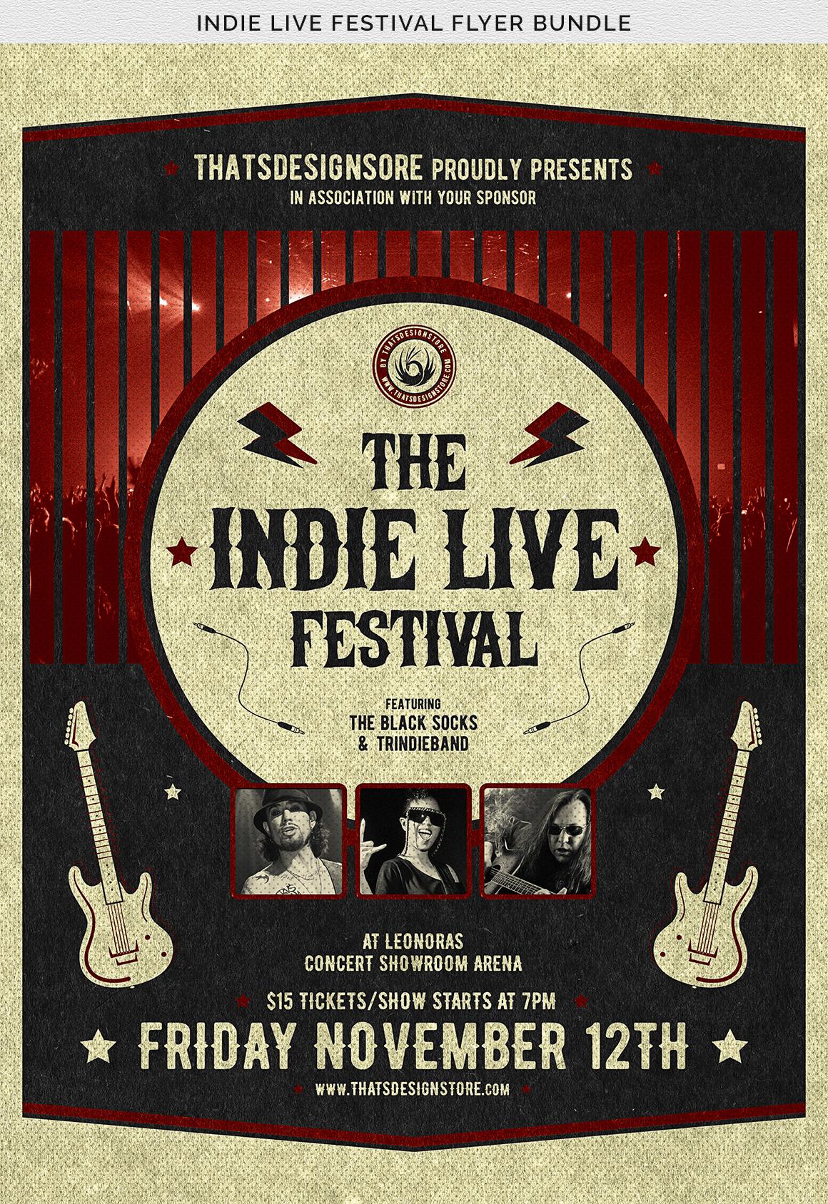 Indie Live Festival Flyer Bundle example image 14