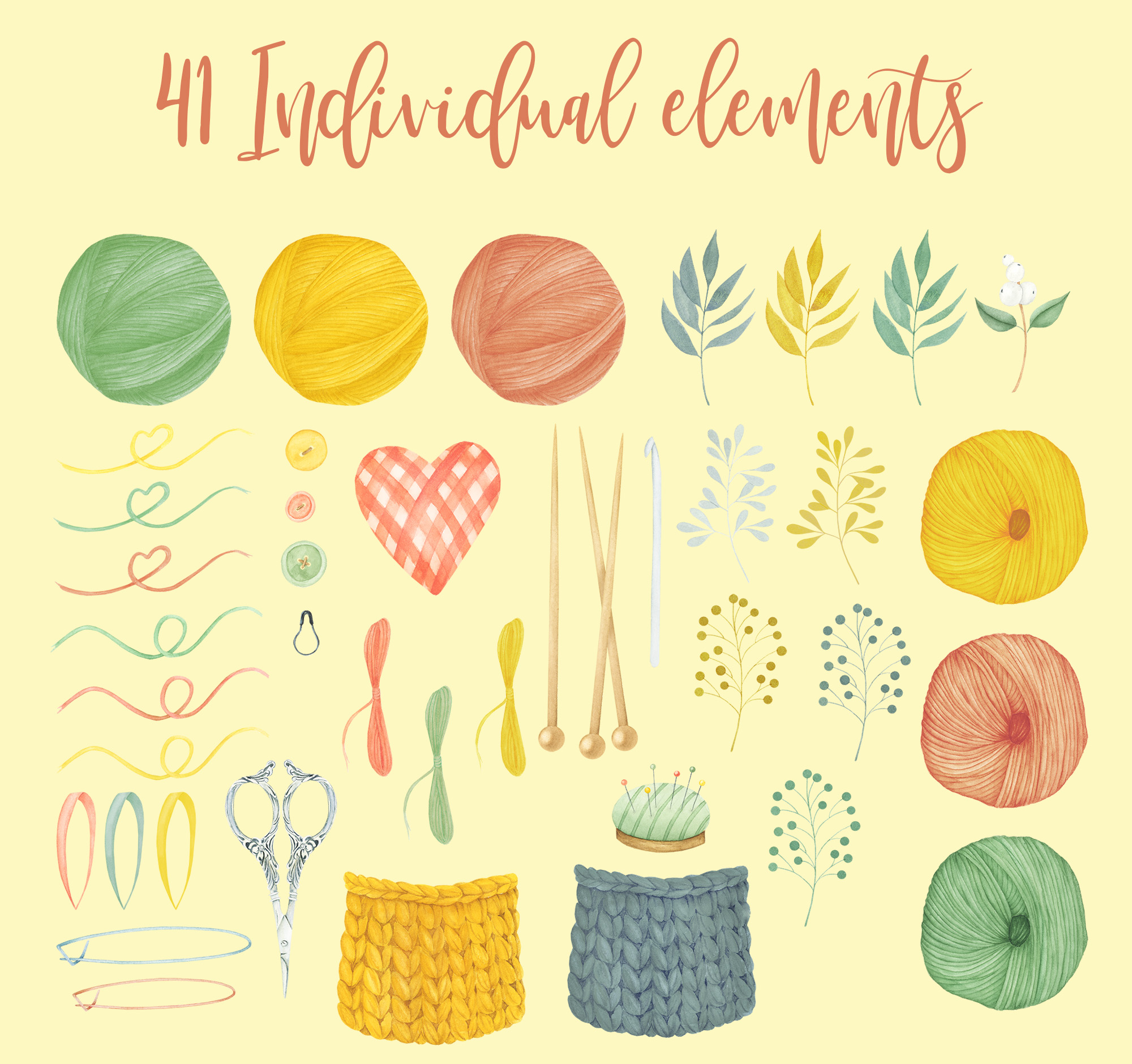 Watercolor Knitting and Crochet Clipart example image 2