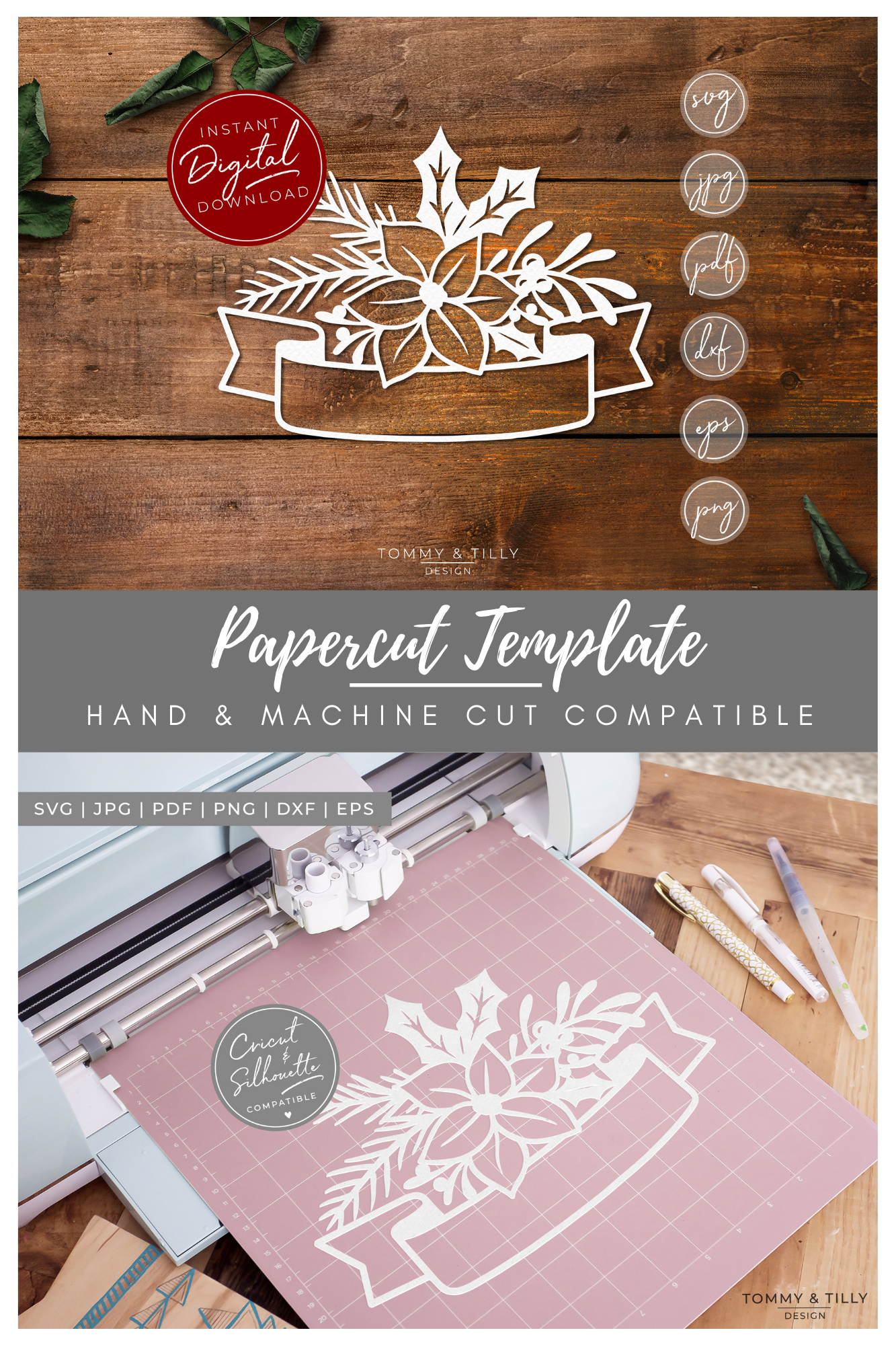 Christmas Banner - SVG EPS DXF PNG PDF JPG Cut File example image 4