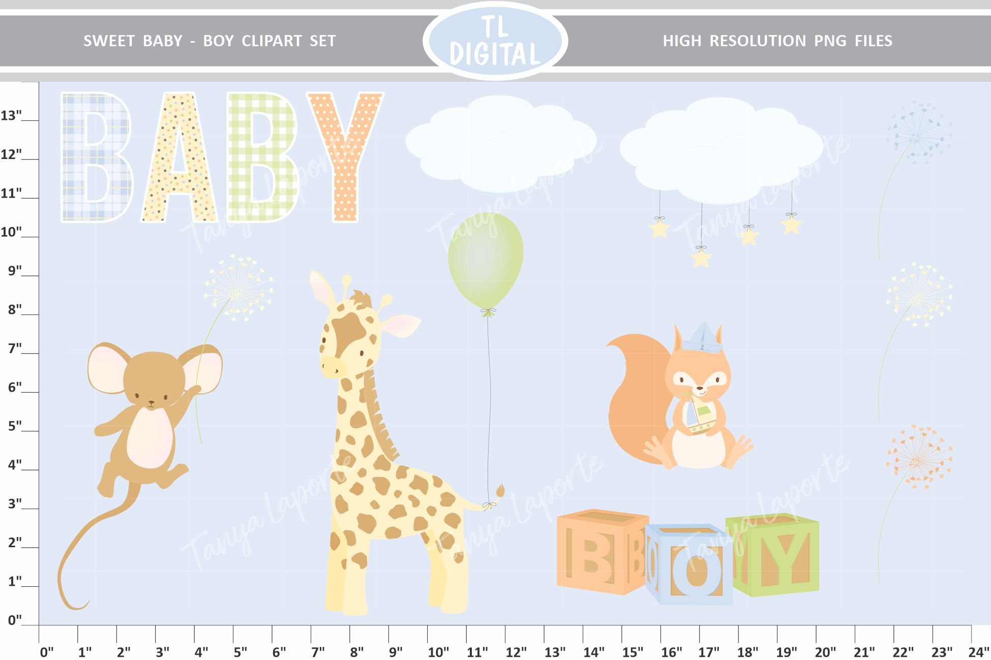 Sweet Baby Boy Clipart Set - 25 Baby themed Graphics example image 2