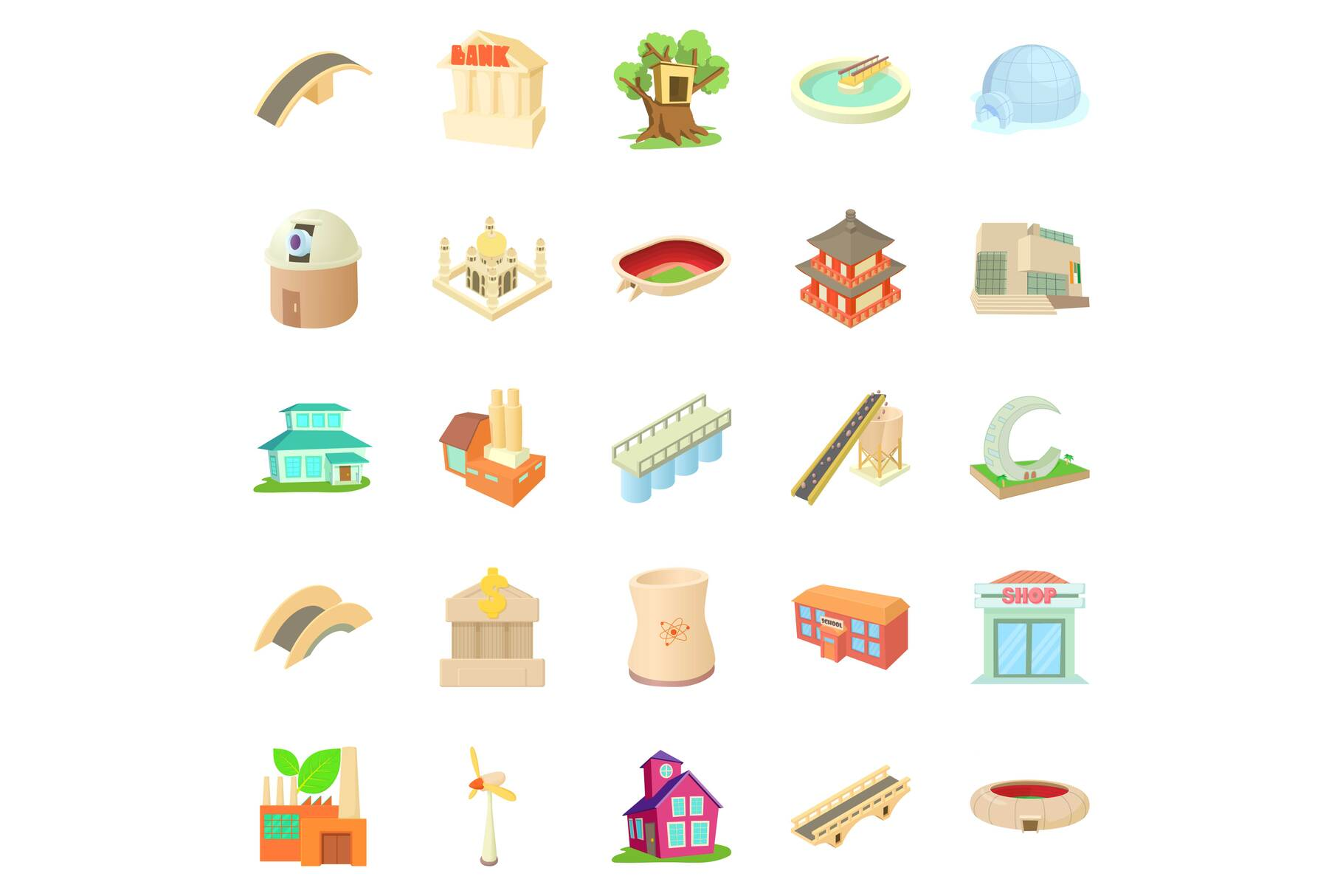Structured icons set, cartoon style example image 1