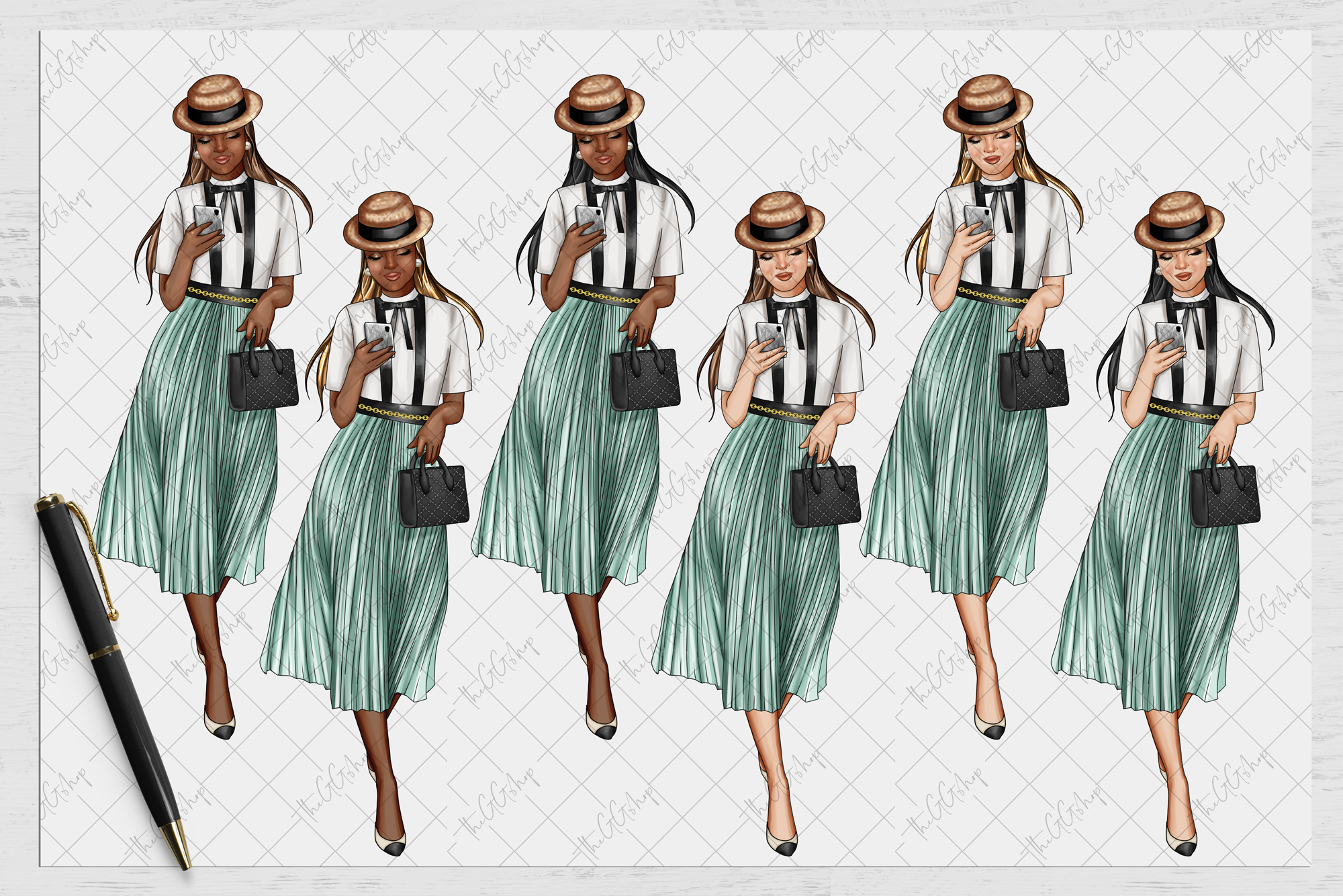 Vintage Paris French Girl Png example image 5