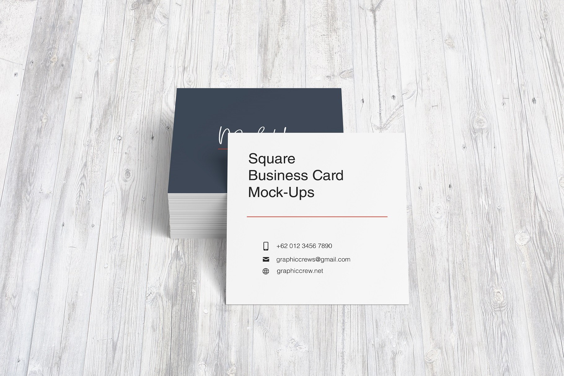Square Business Card Mockup example image 6