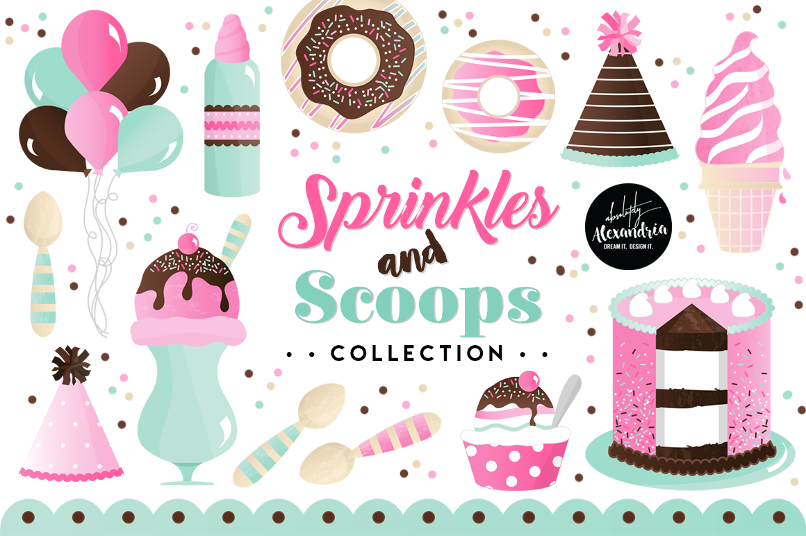 Sprinkles & Scoops Clipart Graphics & Digital Paper Patterns Bundle example image 1