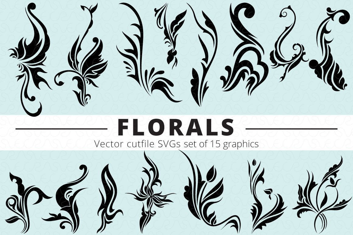 SVG Florals Cutfiles Bundle Pack of 270 vector graphic shape example image 12
