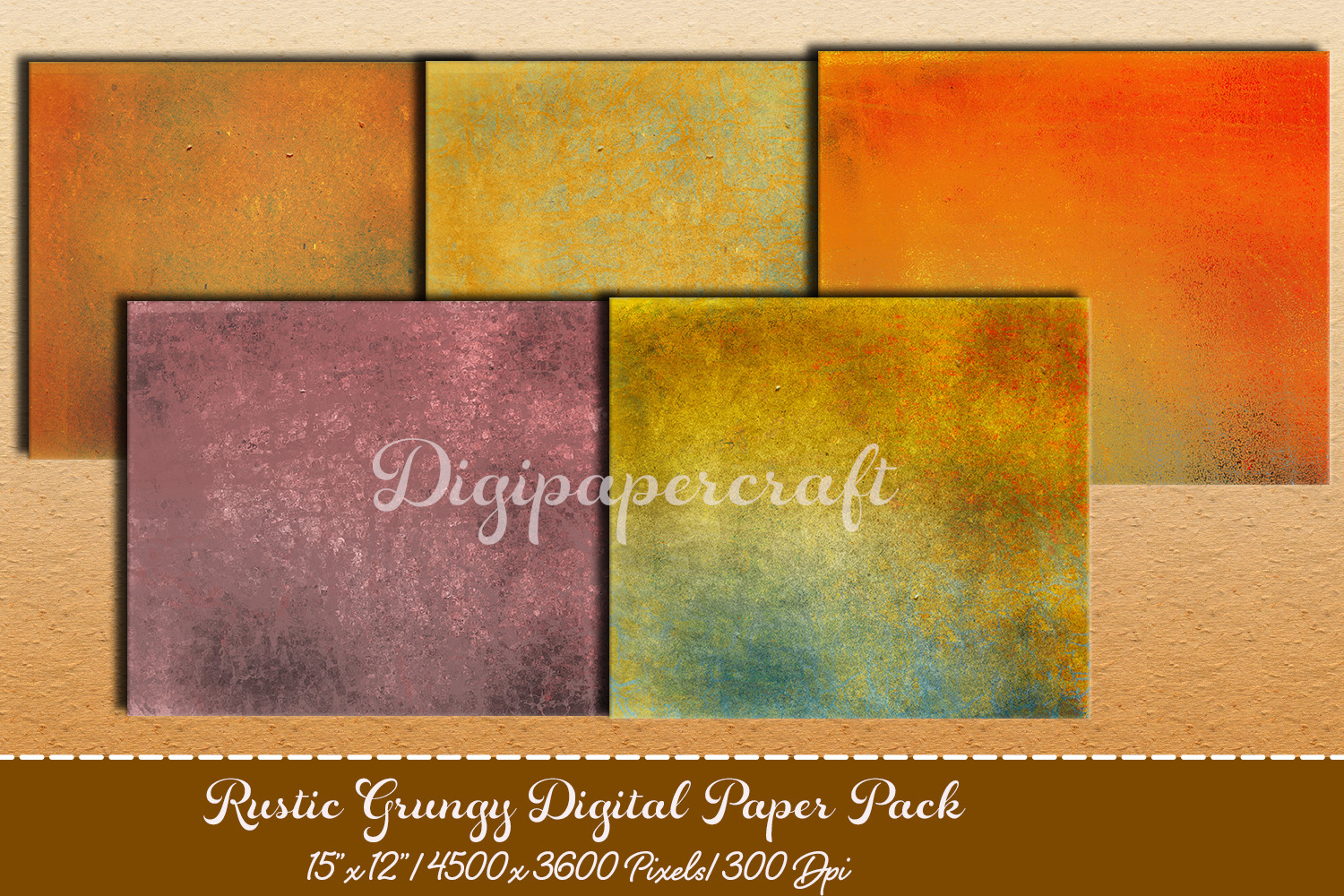Old rustic digital paper. Grungy paper pack example image 1