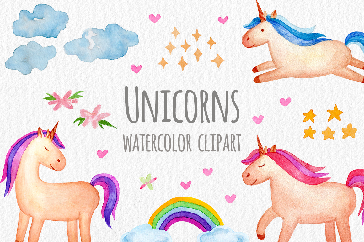 Watercolor Unicorn Set. Seamless Patterns, Clipart example image 1