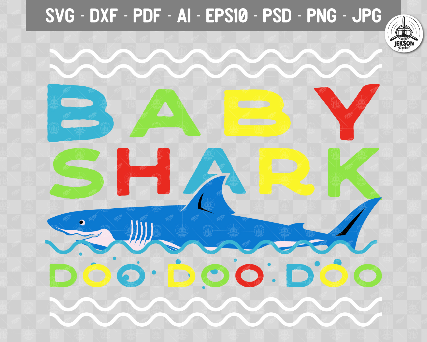 Retro Daddy Shark Print / Fathers Day T-Shirt, Family SVG example image 3