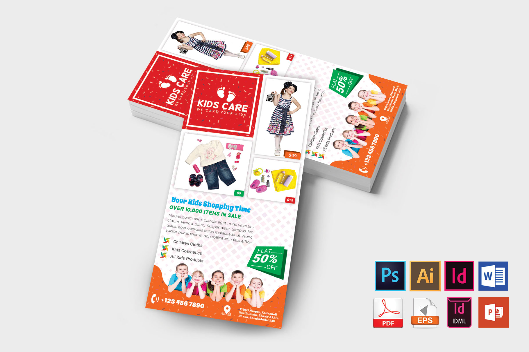 Rack Card | Kids Fashion DL Flyer Vol-03 example image 2