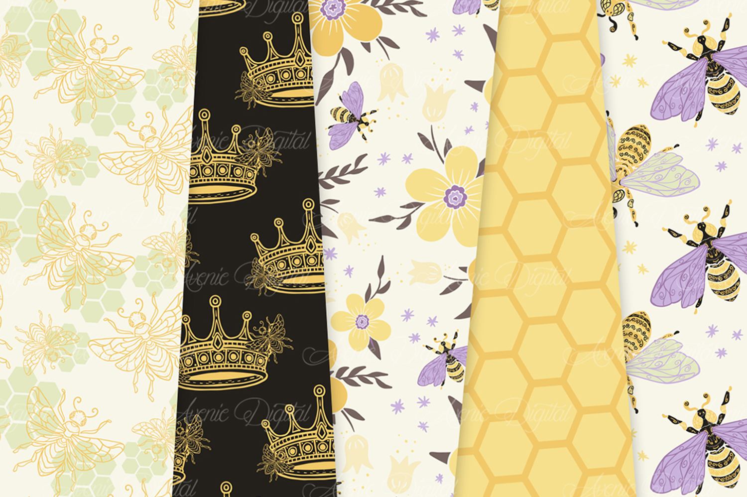 Yellow and Purple Bee Garden Seamless Vector Patterns and Di example image 4