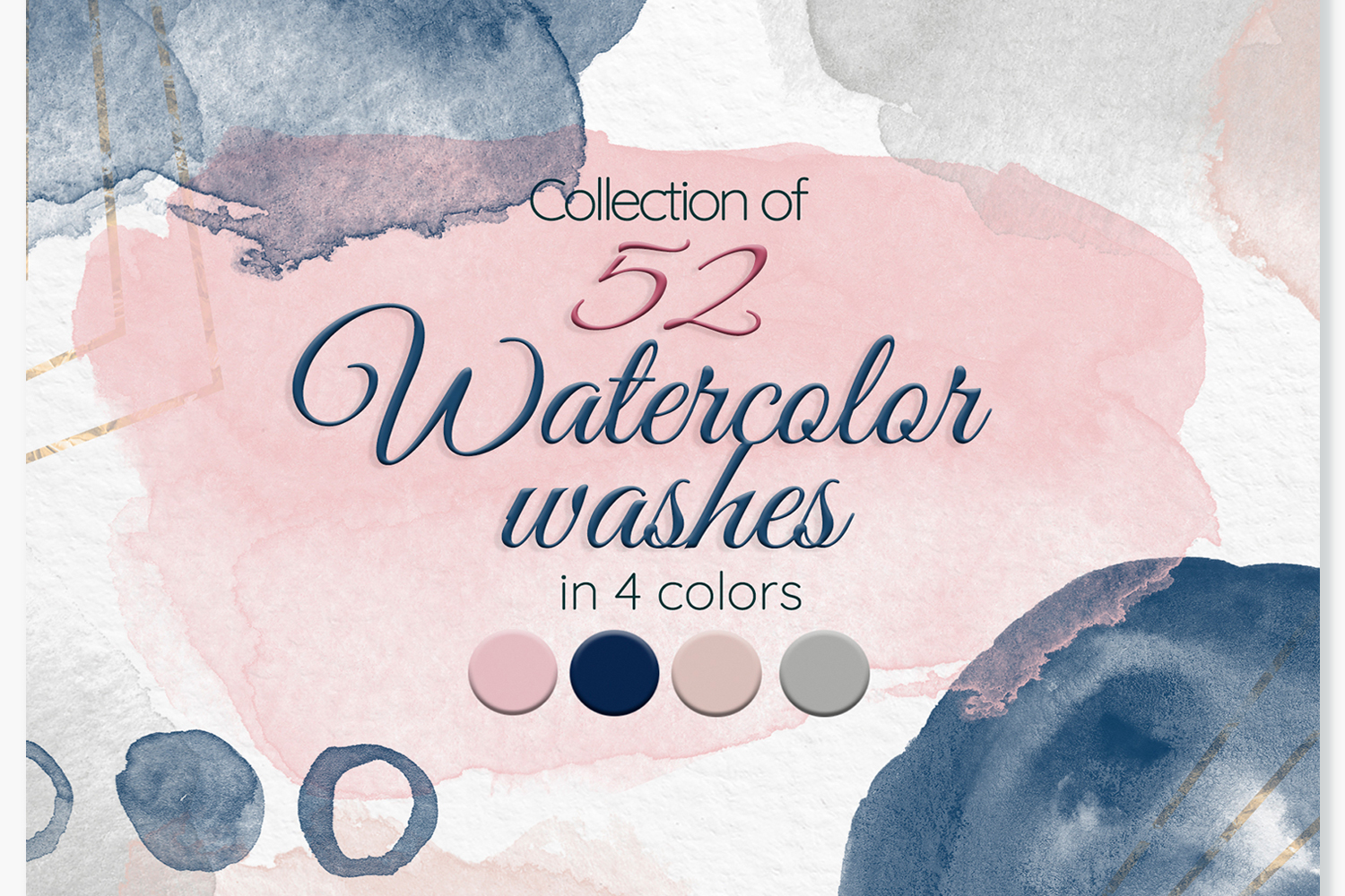 Watercolor stains Blush pink Navy blue Beige Grey washes example image 1