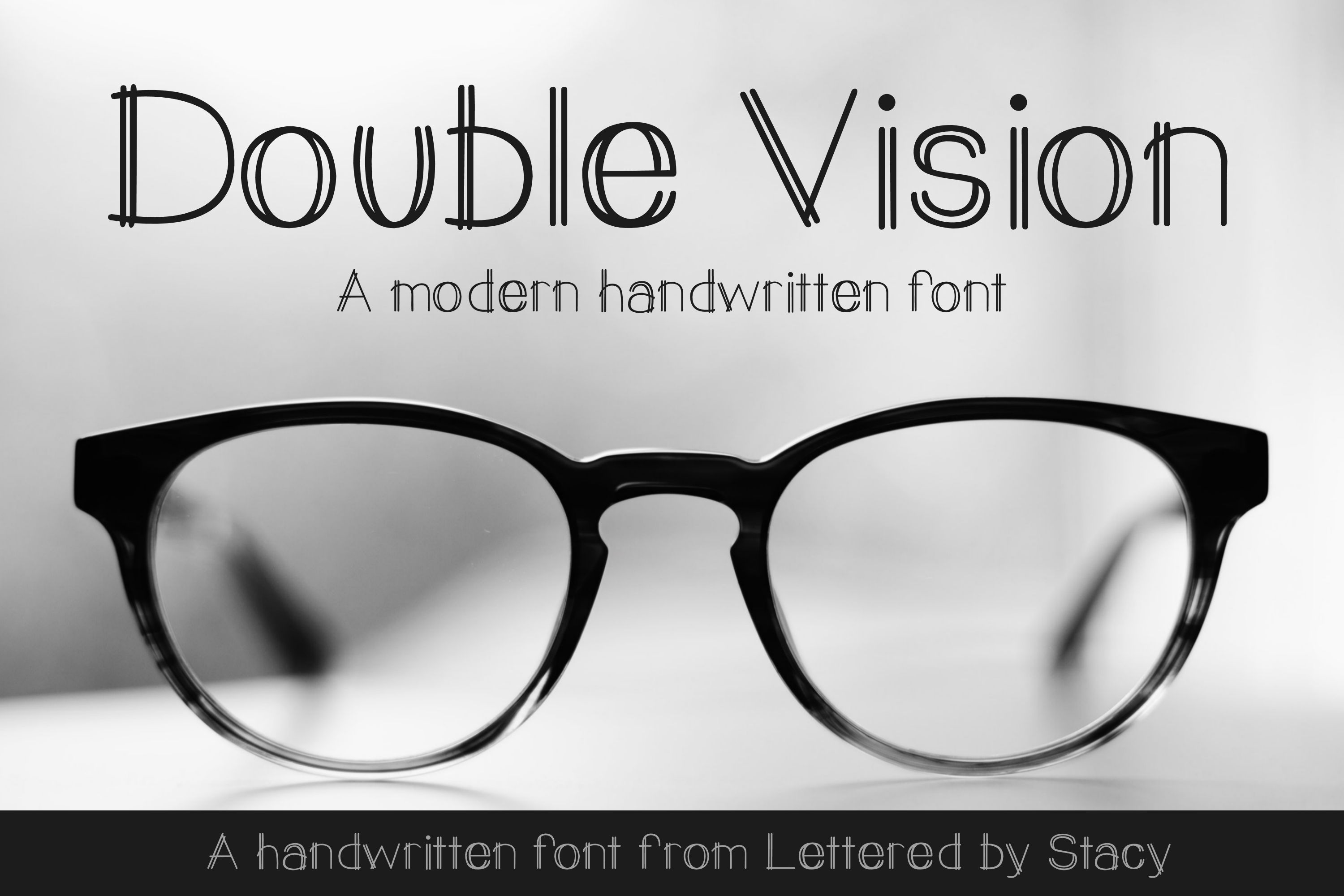 Double Vision- A modern handwritten print font example image 1