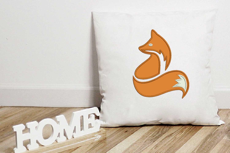 Fox Applique Design, Fox Embroidery Design, Wild Animals example image 1