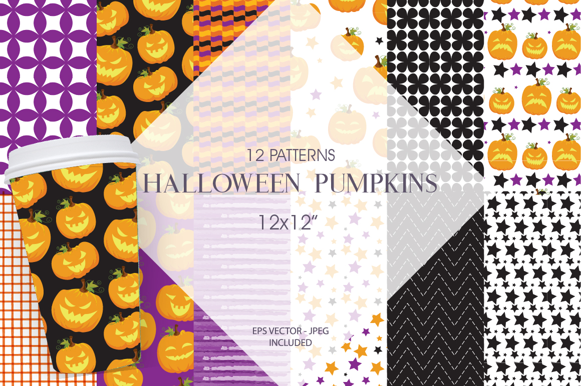 Halloween Pumpkins Pattern collection, vector ai, eps and example image 1