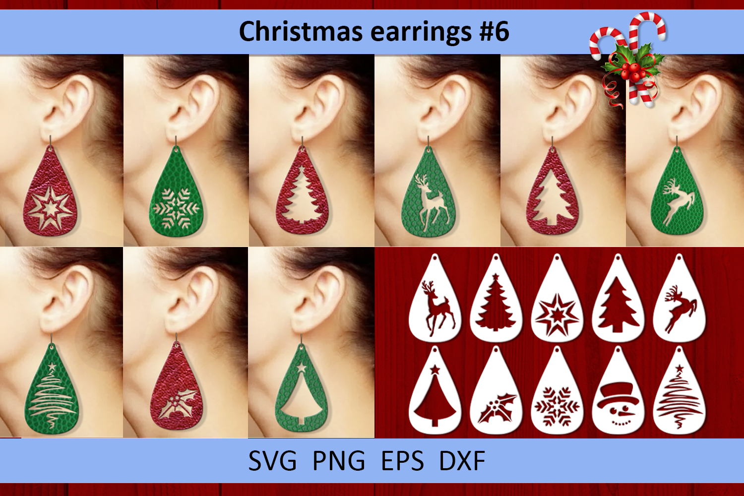 10 Christmas earrings svg Leather earrings svg Necklace svg example image 1