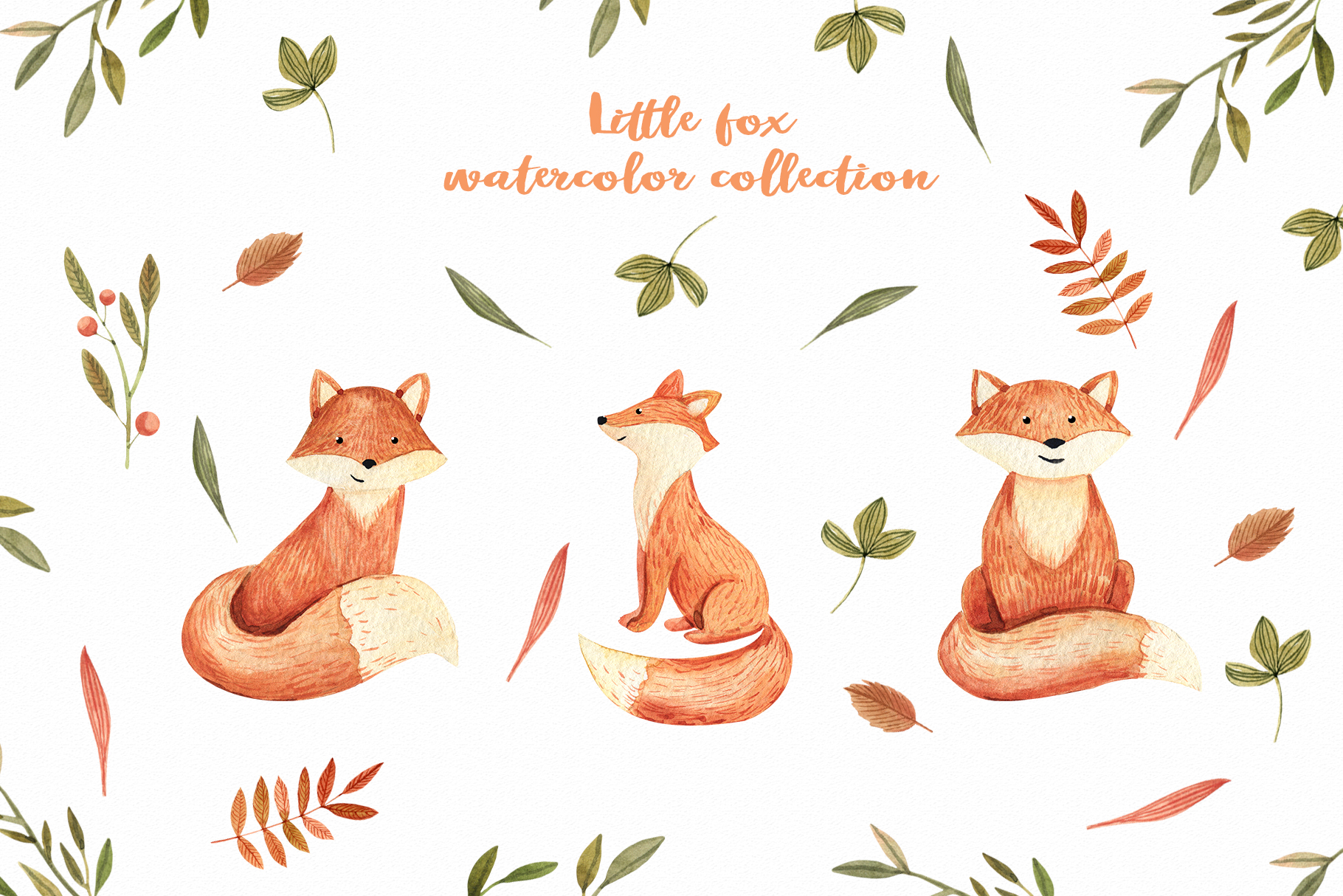 Watercolor Autumn Fox example image 2