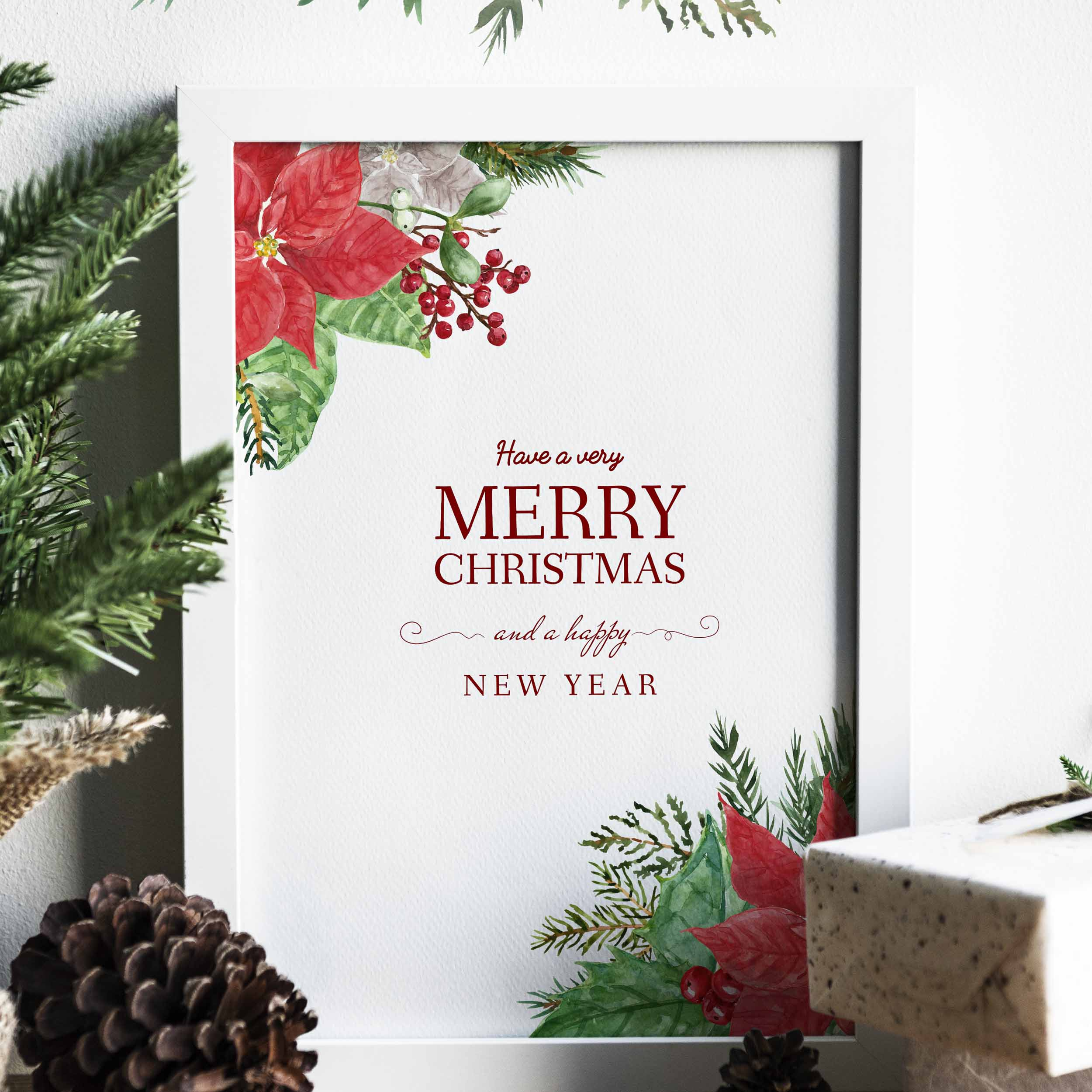 Watercolor Christmas Poinsettia Holiday Wreath Clipart example image 9