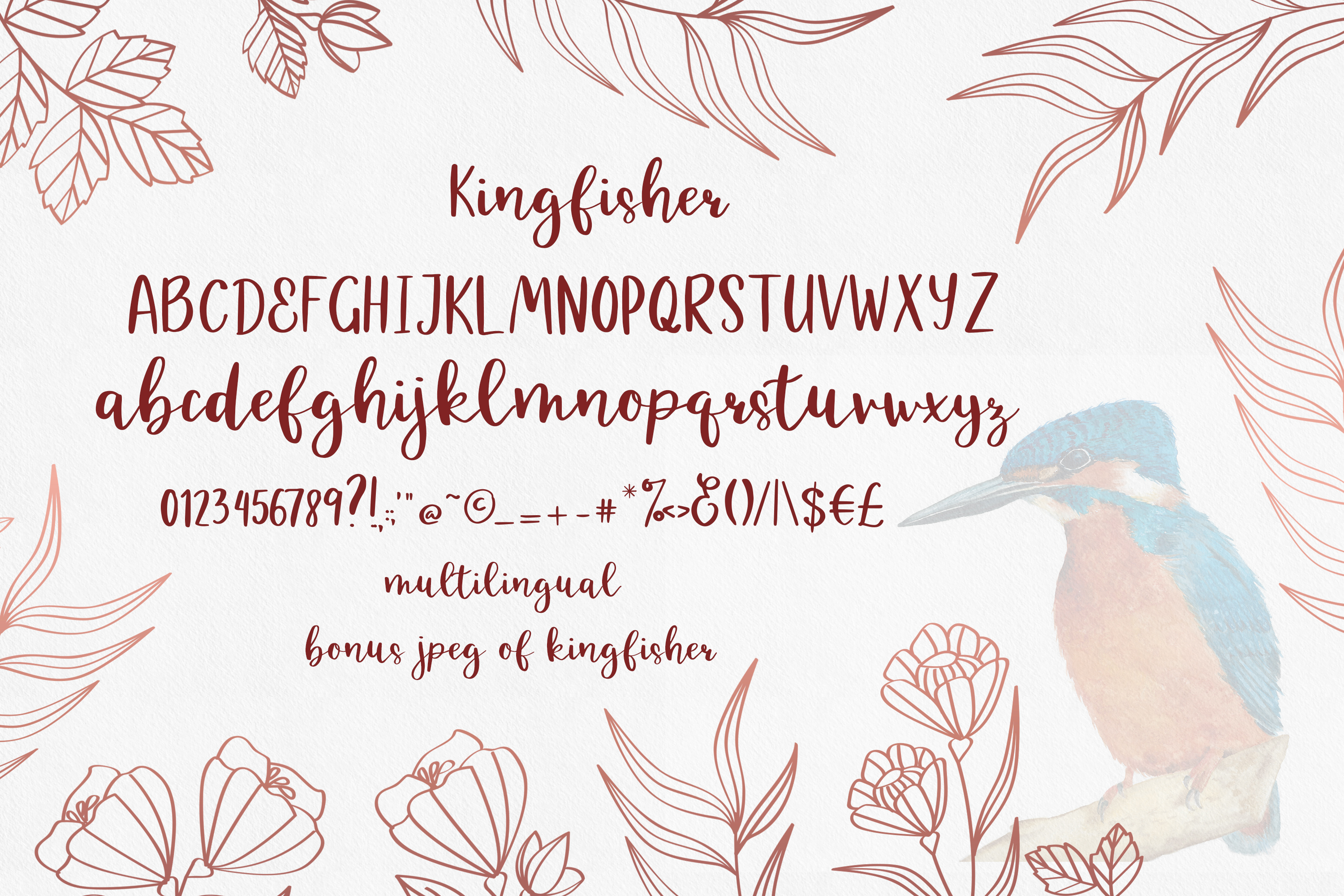 Kingfisher, modern calligraphy font example image 2